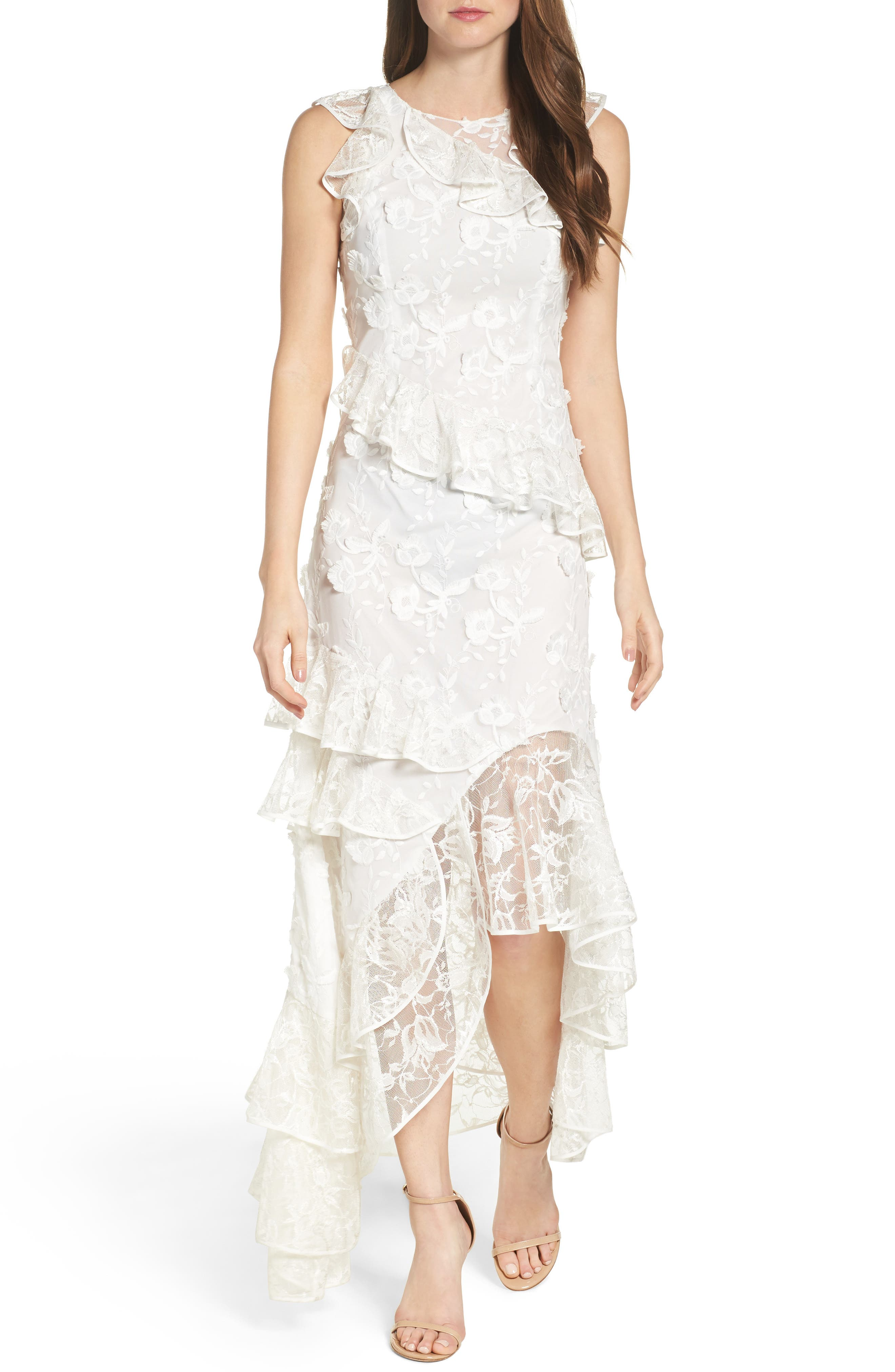 Main Image - Sachin & Babi Noir Prima Asymmetrical Mesh Gown