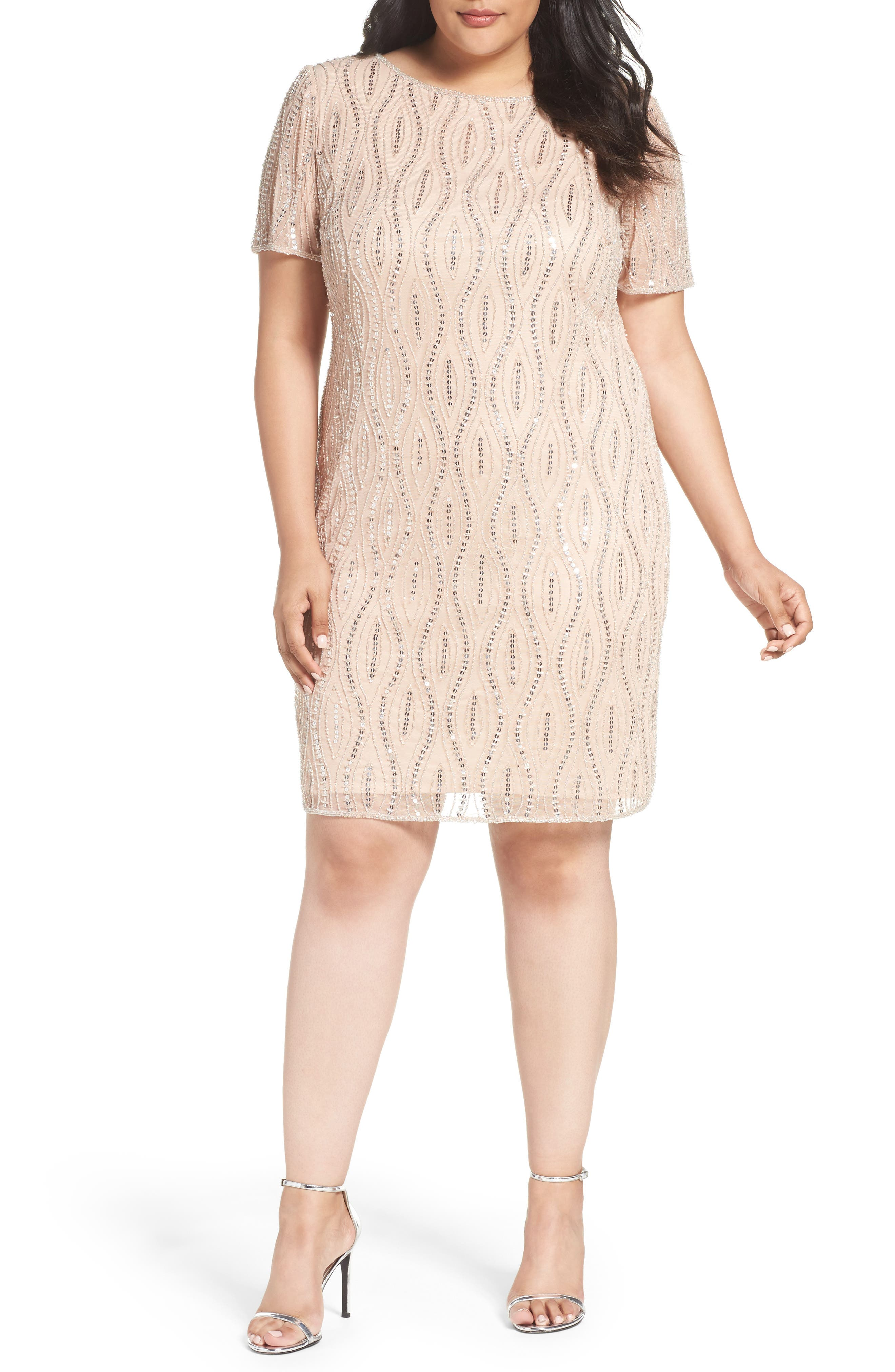 Pisarro Nights Embellished Sheath Dress (Plus Size)