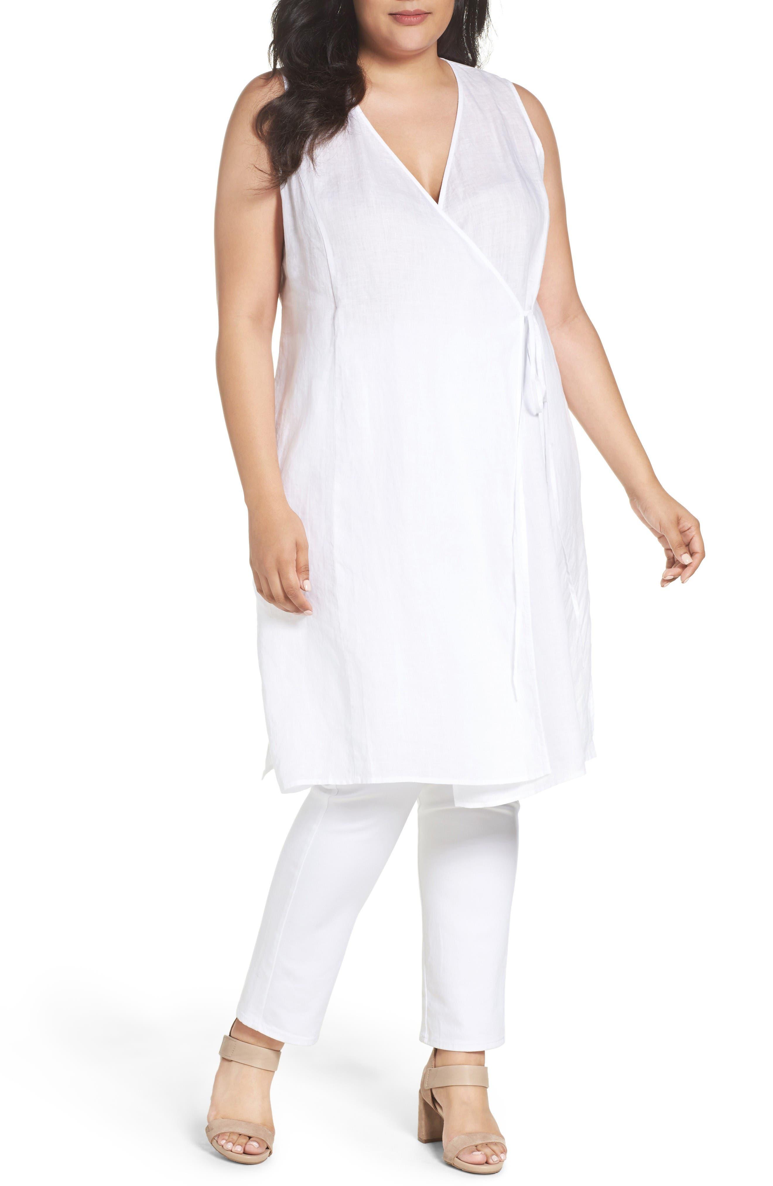 Eileen Fisher Organic Handkerchief Linen Tie Waist Tunic
