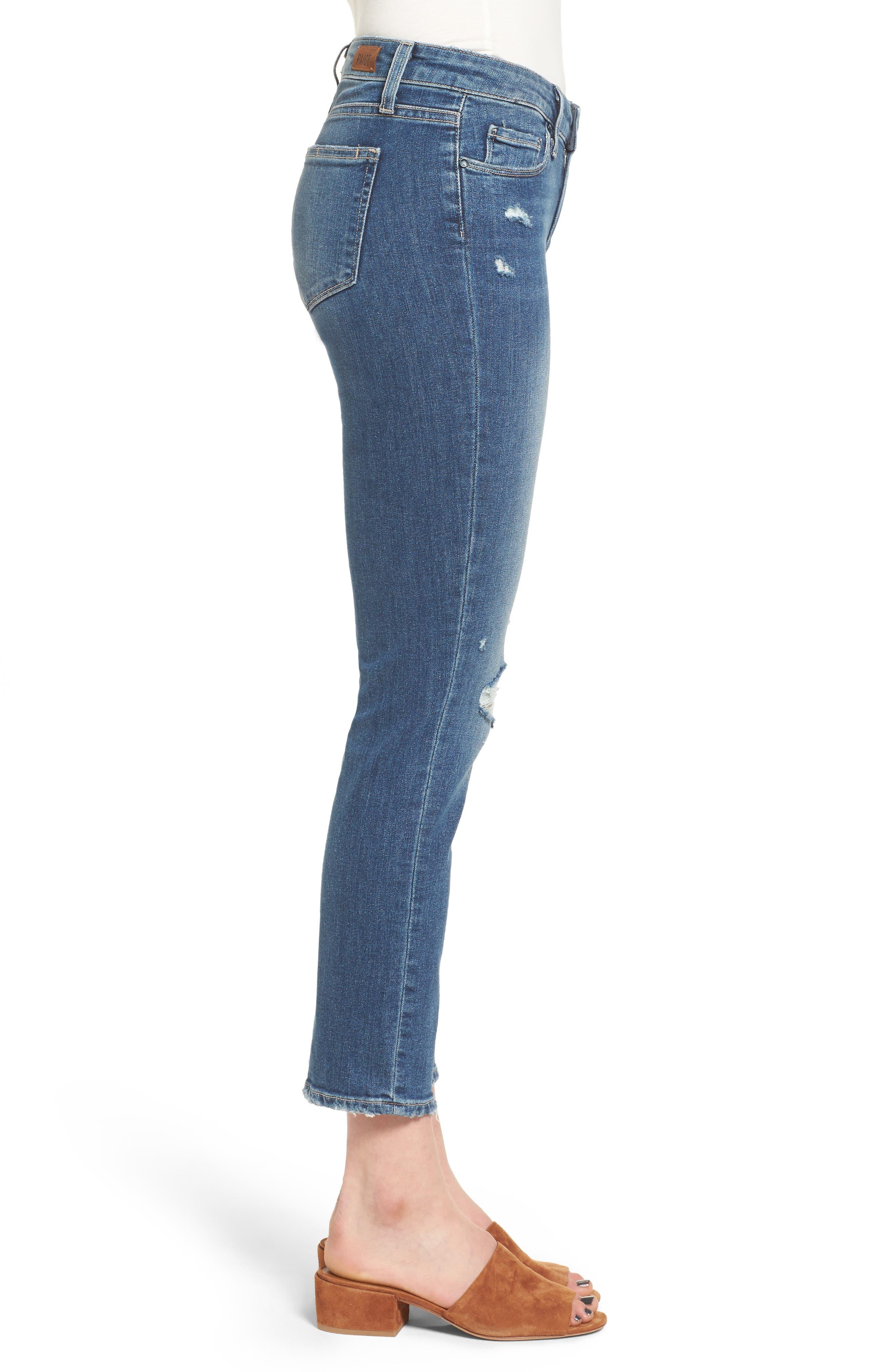 Alternate Image 3  - PAIGE Miki Crop Straight Leg Jeans (Destructed Blue)