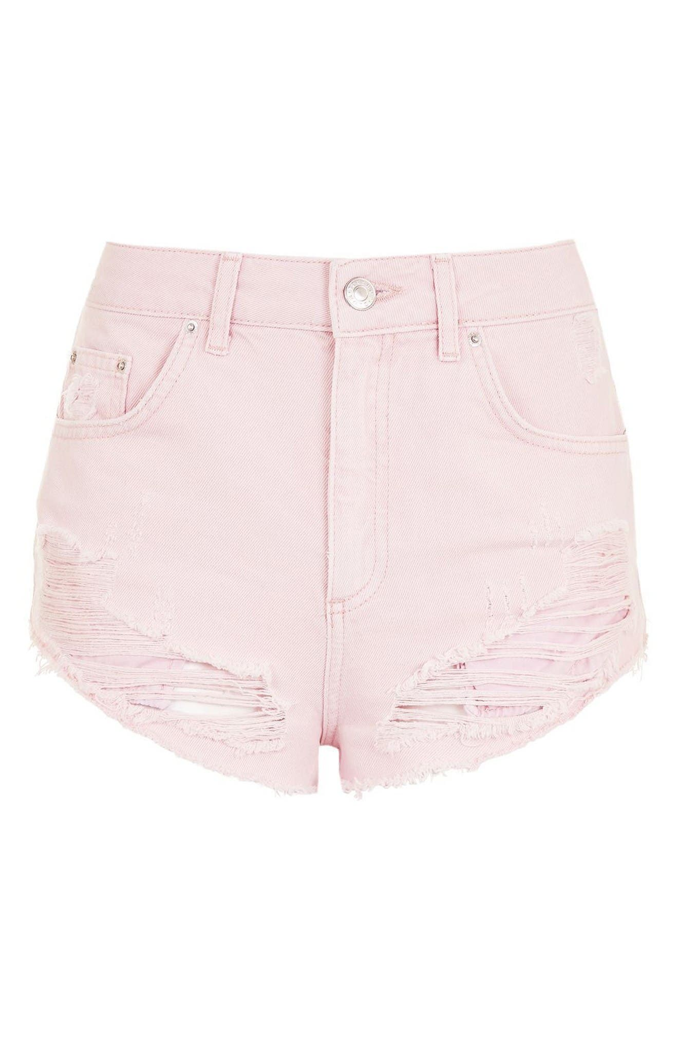 Alternate Image 4  - Topshop Ripped Mini Denim Shorts (Regular & Petite)