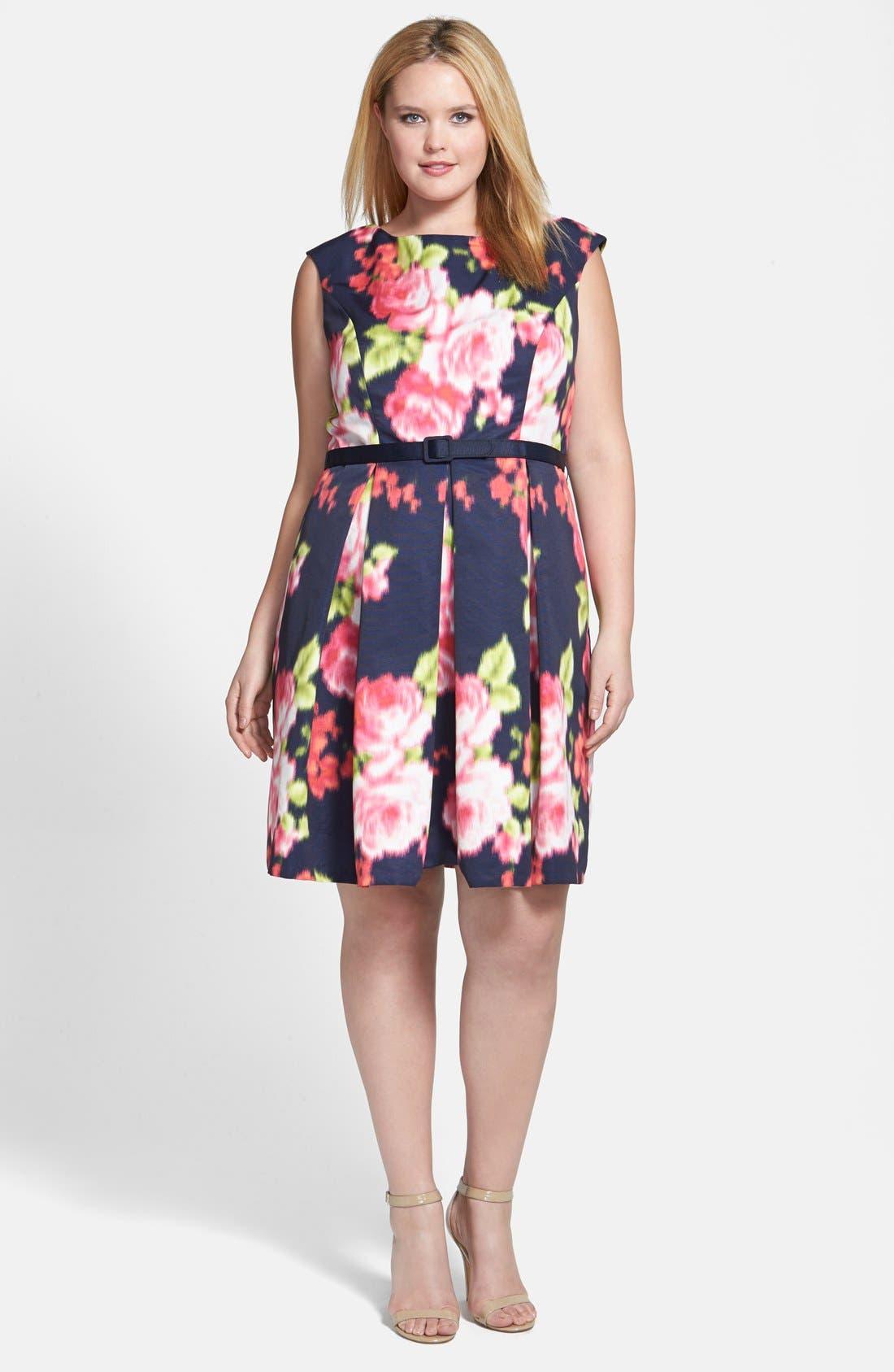 Alternate Image 4  - Eliza J Floral Print Cap Sleeve Fit & Flare Dress (Plus Size)