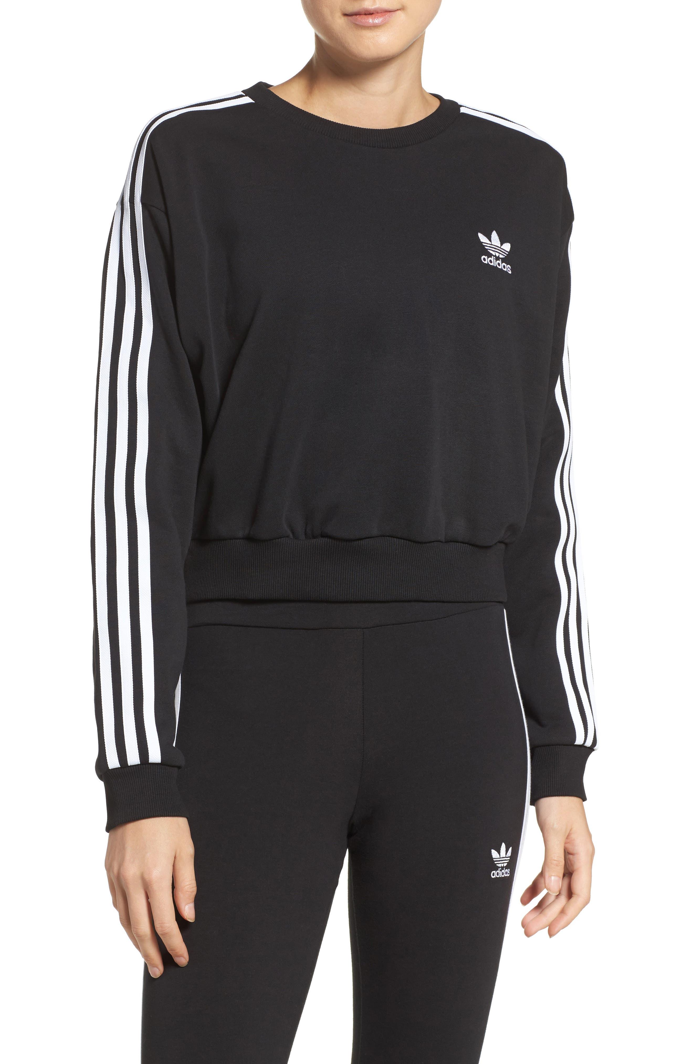 Alternate Image 1 Selected - adidas Originals 3-Stripes Crop Sweatshirt