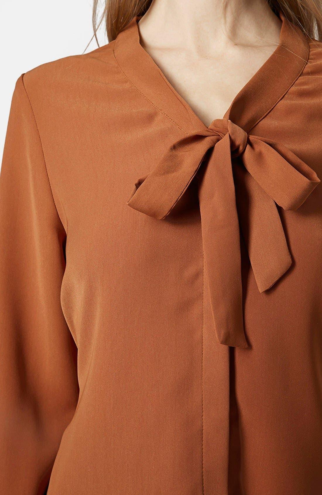 Alternate Image 4  - Topshop Tie Neck Shirtdress