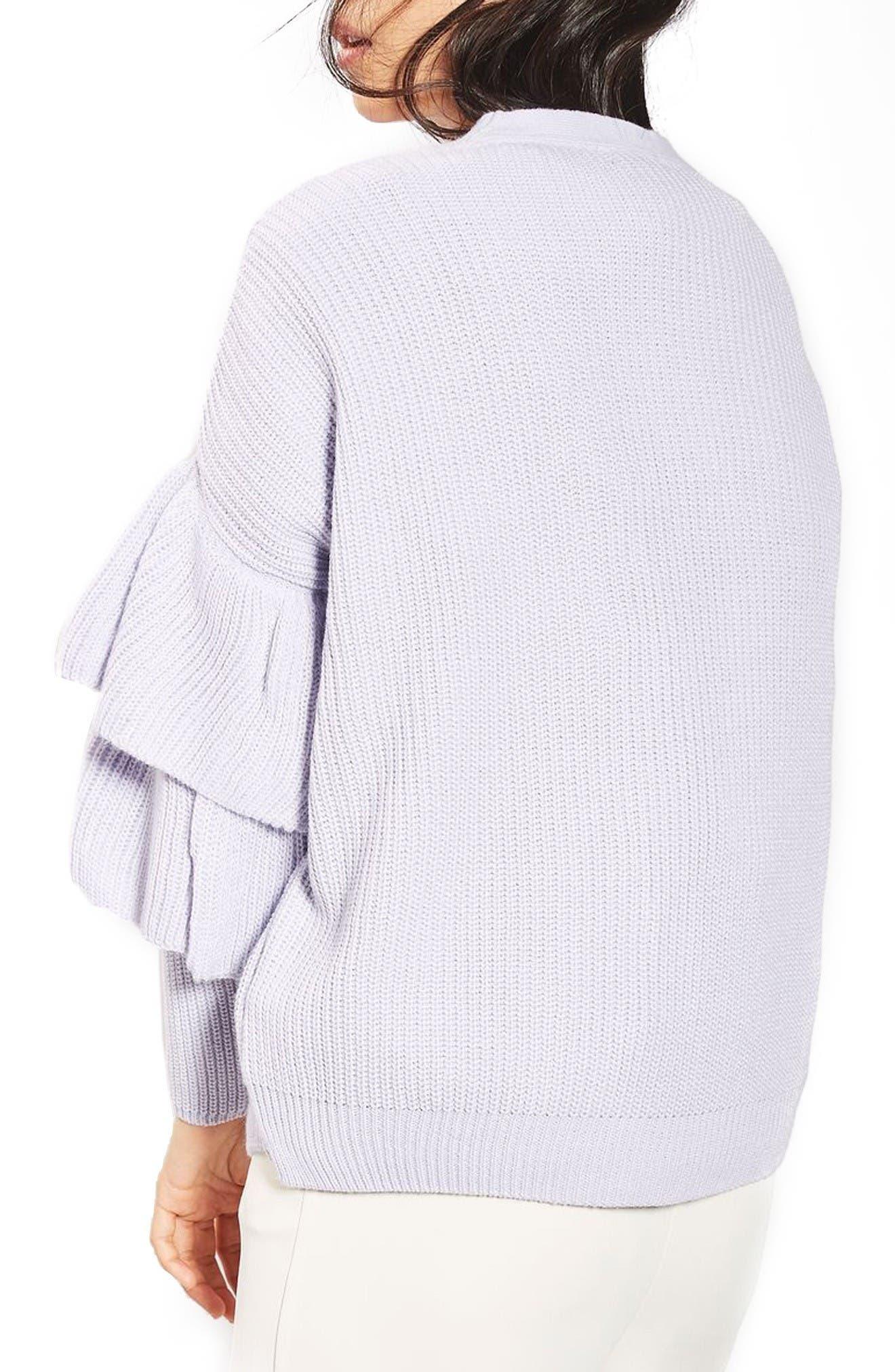 Alternate Image 3  - Topshop Ruffle Sleeve Cardigan