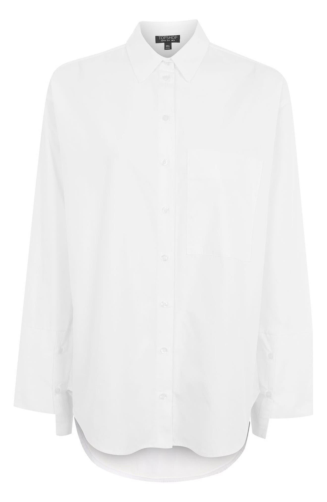 Alternate Image 4  - Topshop Deep Cuff Oversize Shirt