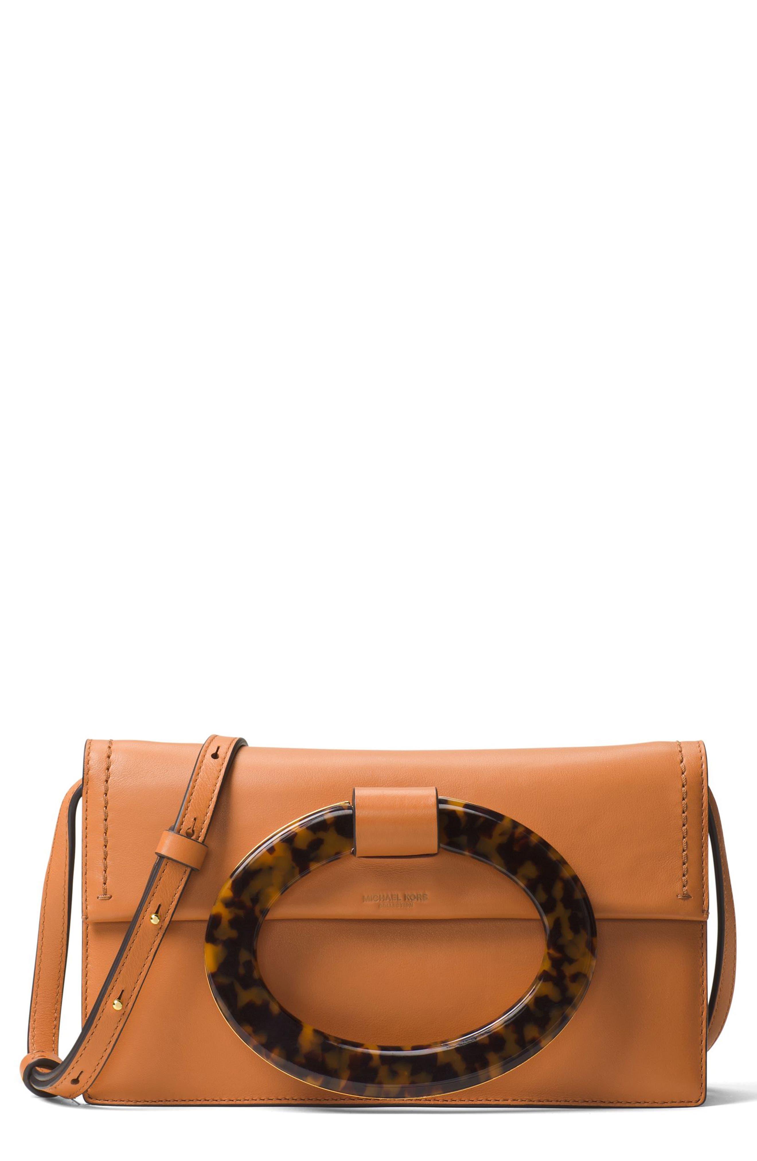 Main Image - Michael Kors Baxter Calfskin Leather Convertible Clutch