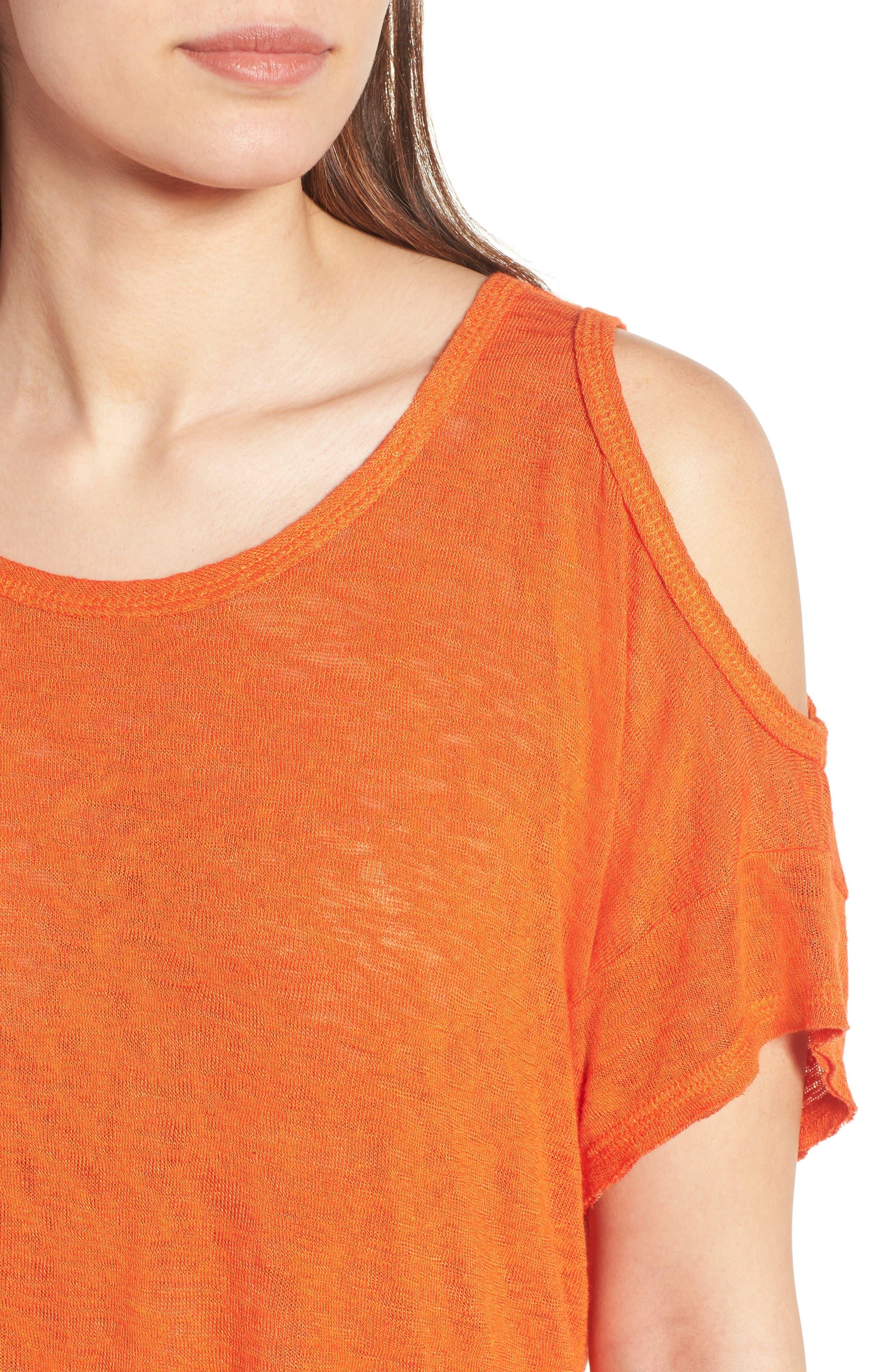 Alternate Image 4  - Bobeau Cold Shoulder Slub Knit Tee (Regular & Petite)