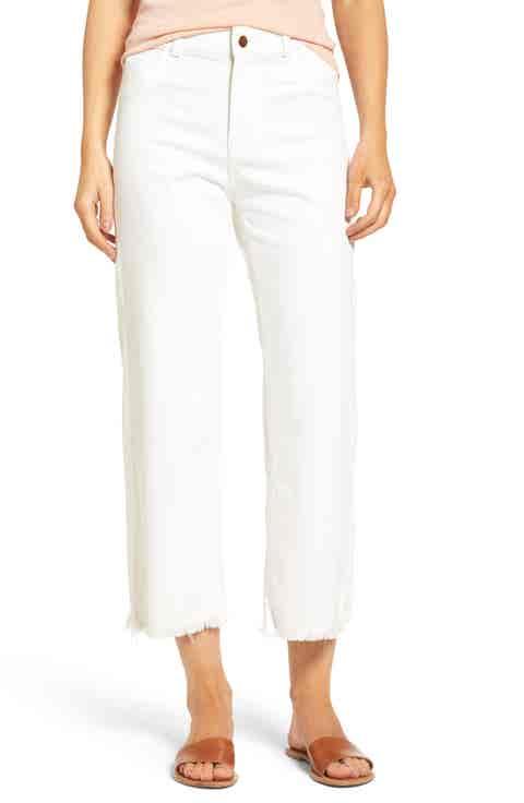 DL1961 High Waist Crop Wide Leg Jeans (Eggshell)