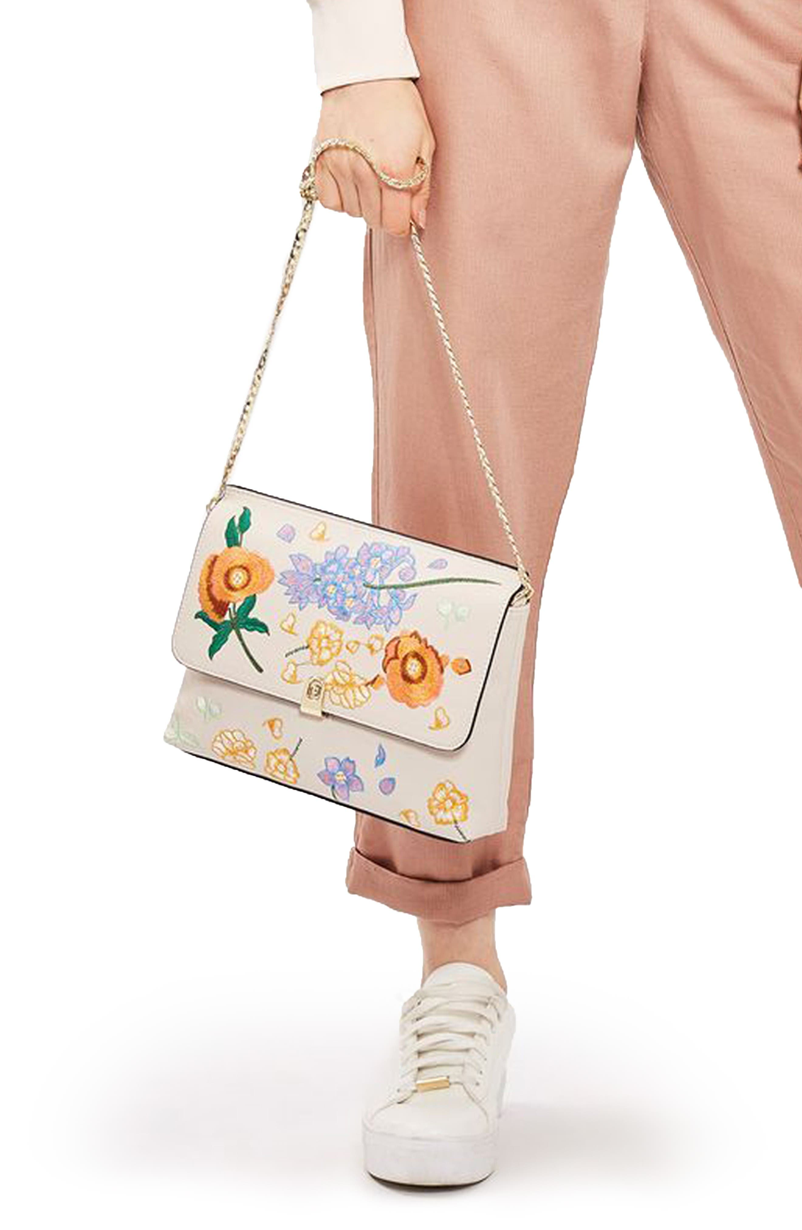 Alternate Image 2  - Topshop Floral Embroidered Faux Leather Clutch