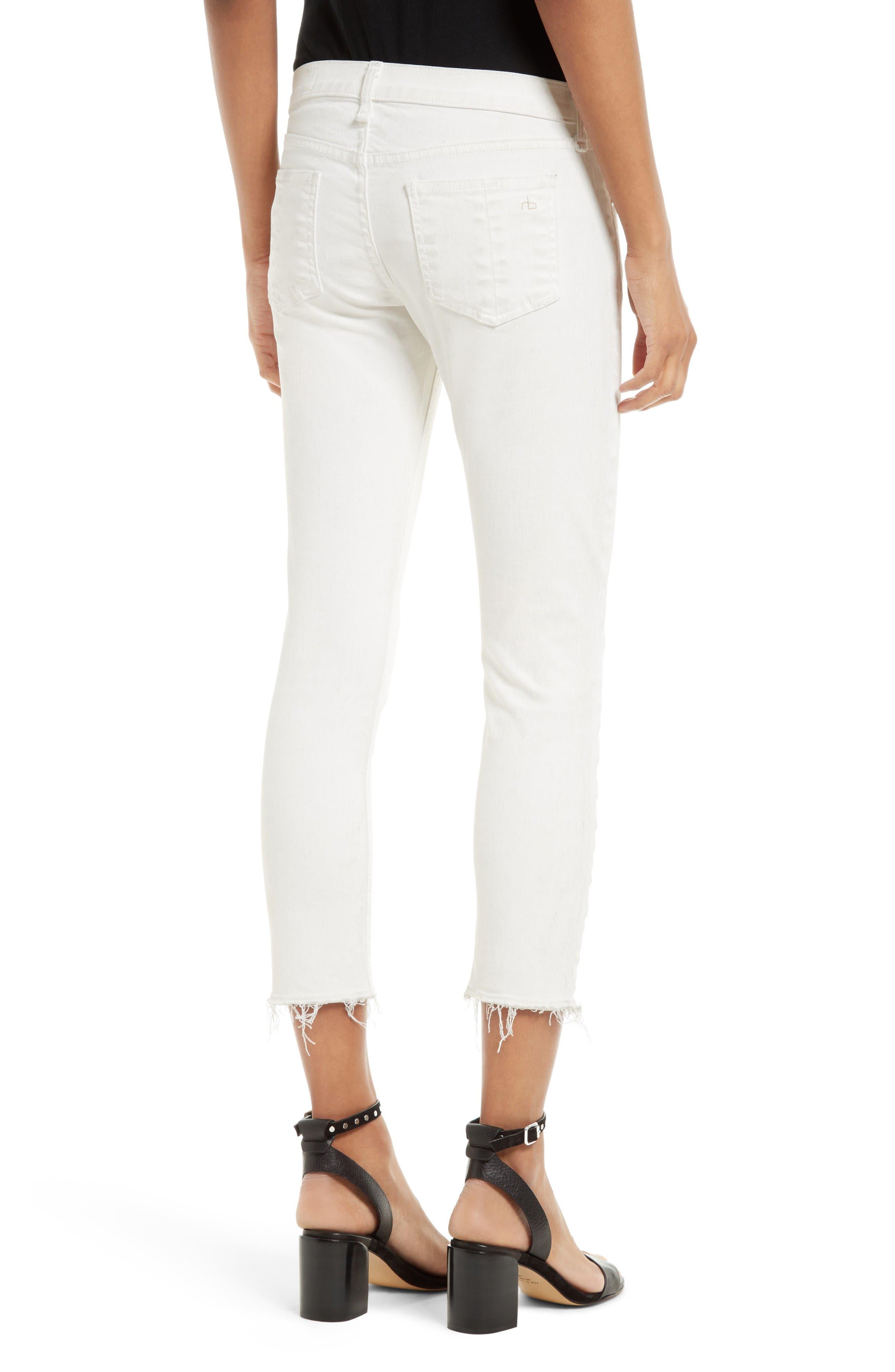 Alternate Image 2  - rag & bone/JEAN Capri Skinny Jeans (Blanc with Fray)