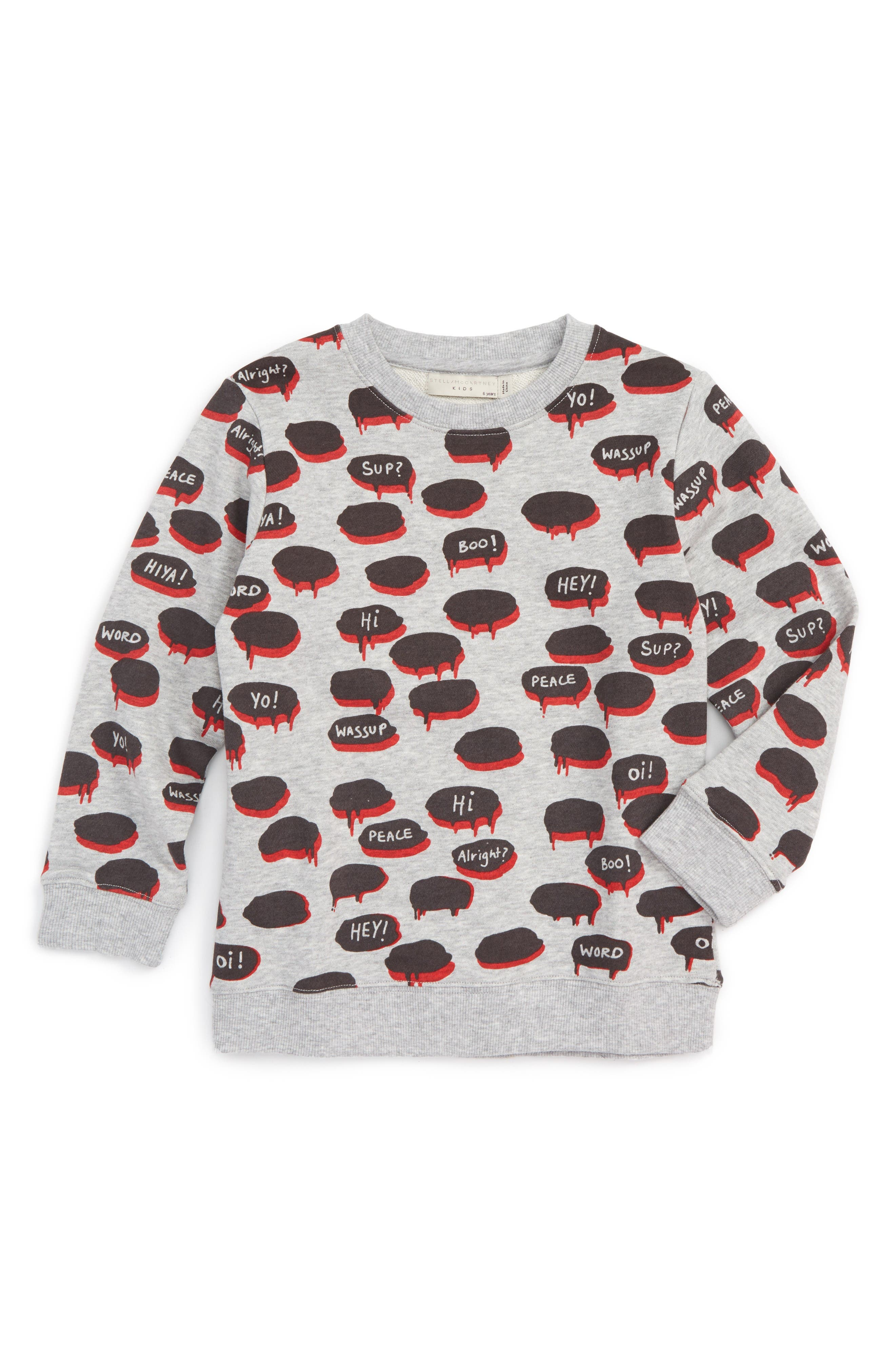 Stella McCartney Kids Bubble Quote Graphic Sweatshirt (Toddler Boys, Little Boys & Big Boys)