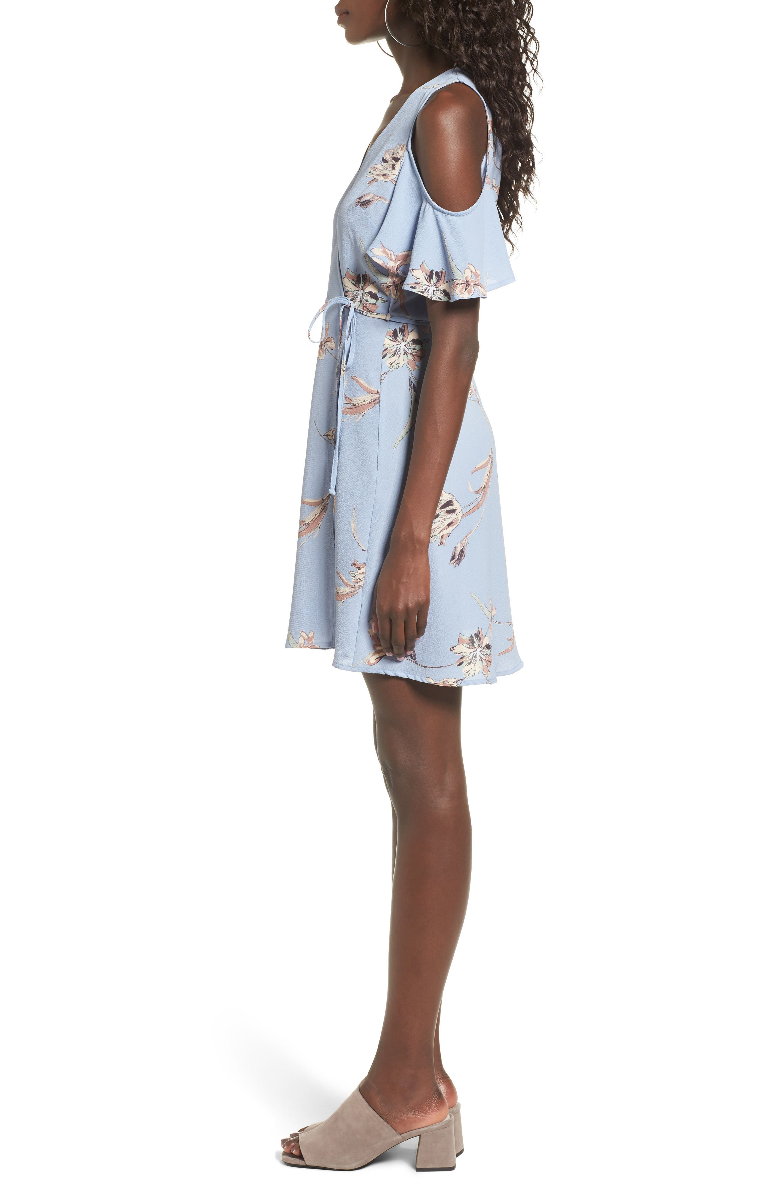 Alternate Image 3  - Lush Floral Print Cold Shoulder Wrap Dress