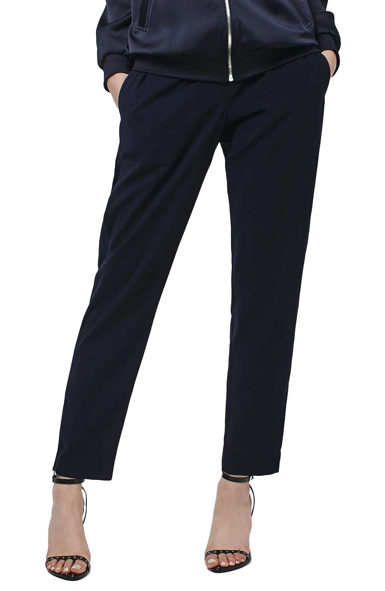 Main Image - Topshop Contrast Piped Ankle Zip Jogger Pants