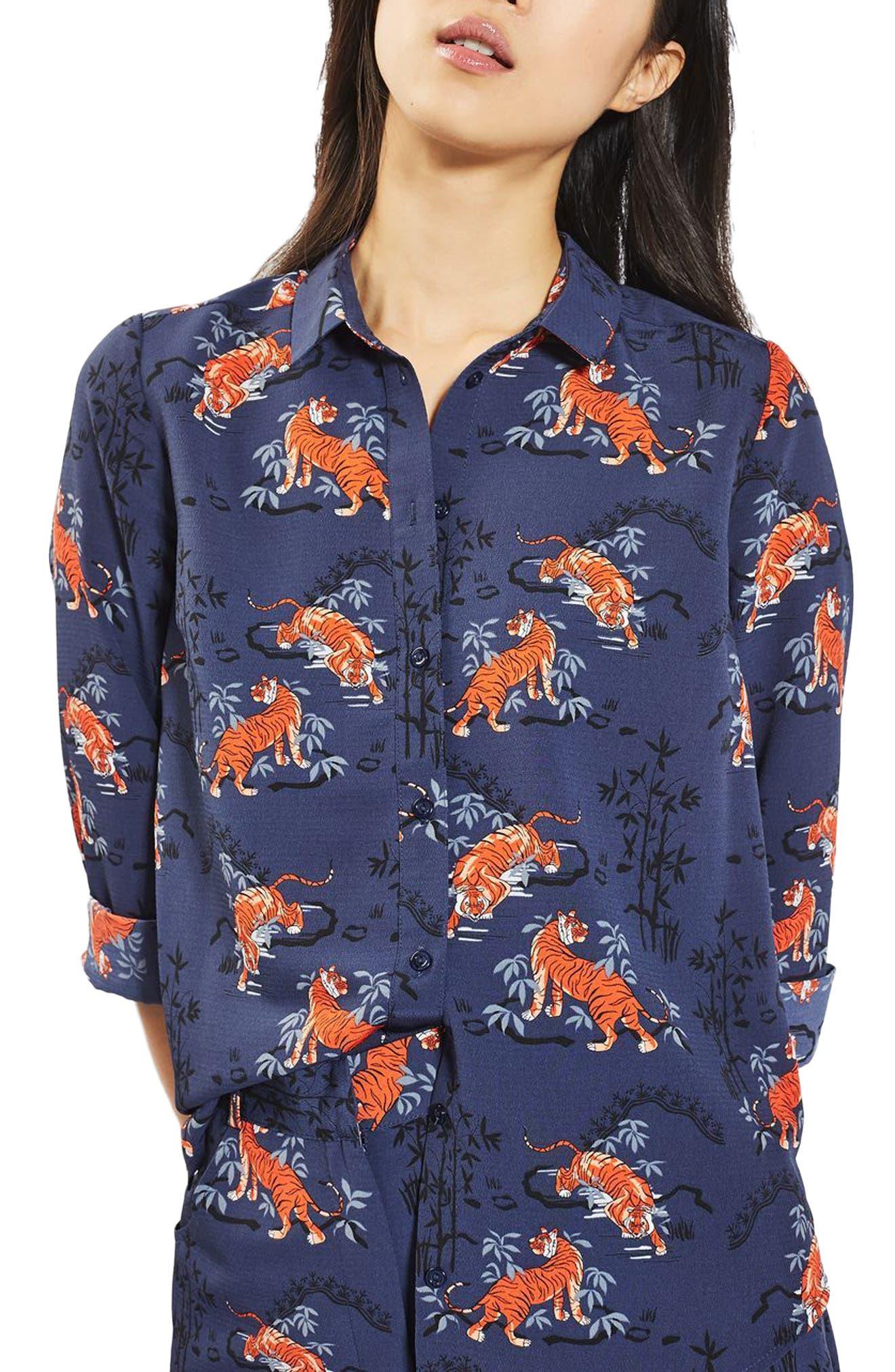 Main Image - Topshop Tiger Print Shirt (Petite)