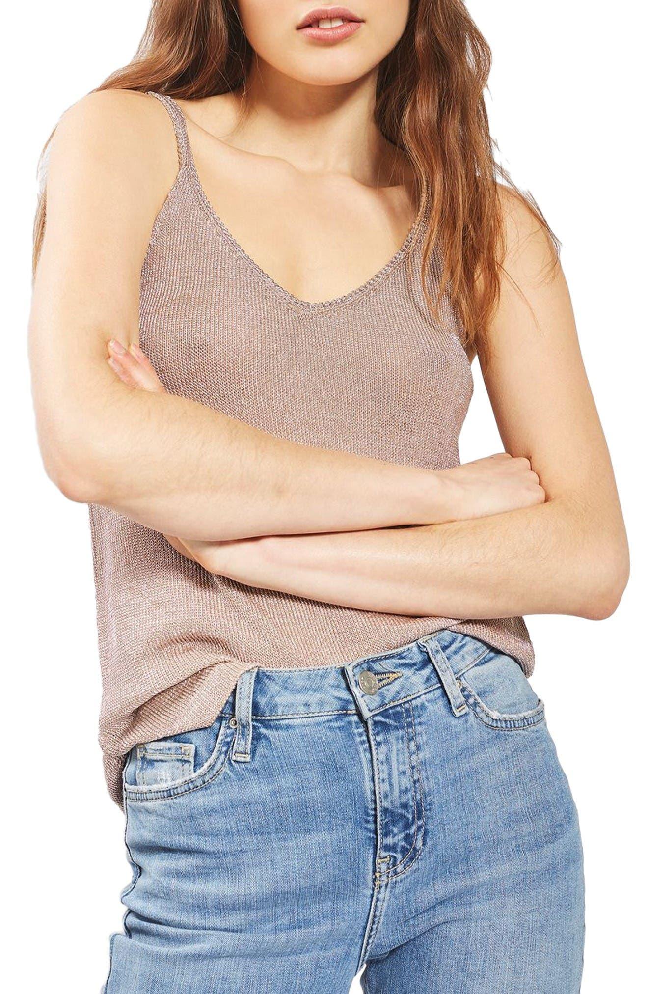 Topshop Metallic Knit Camisole