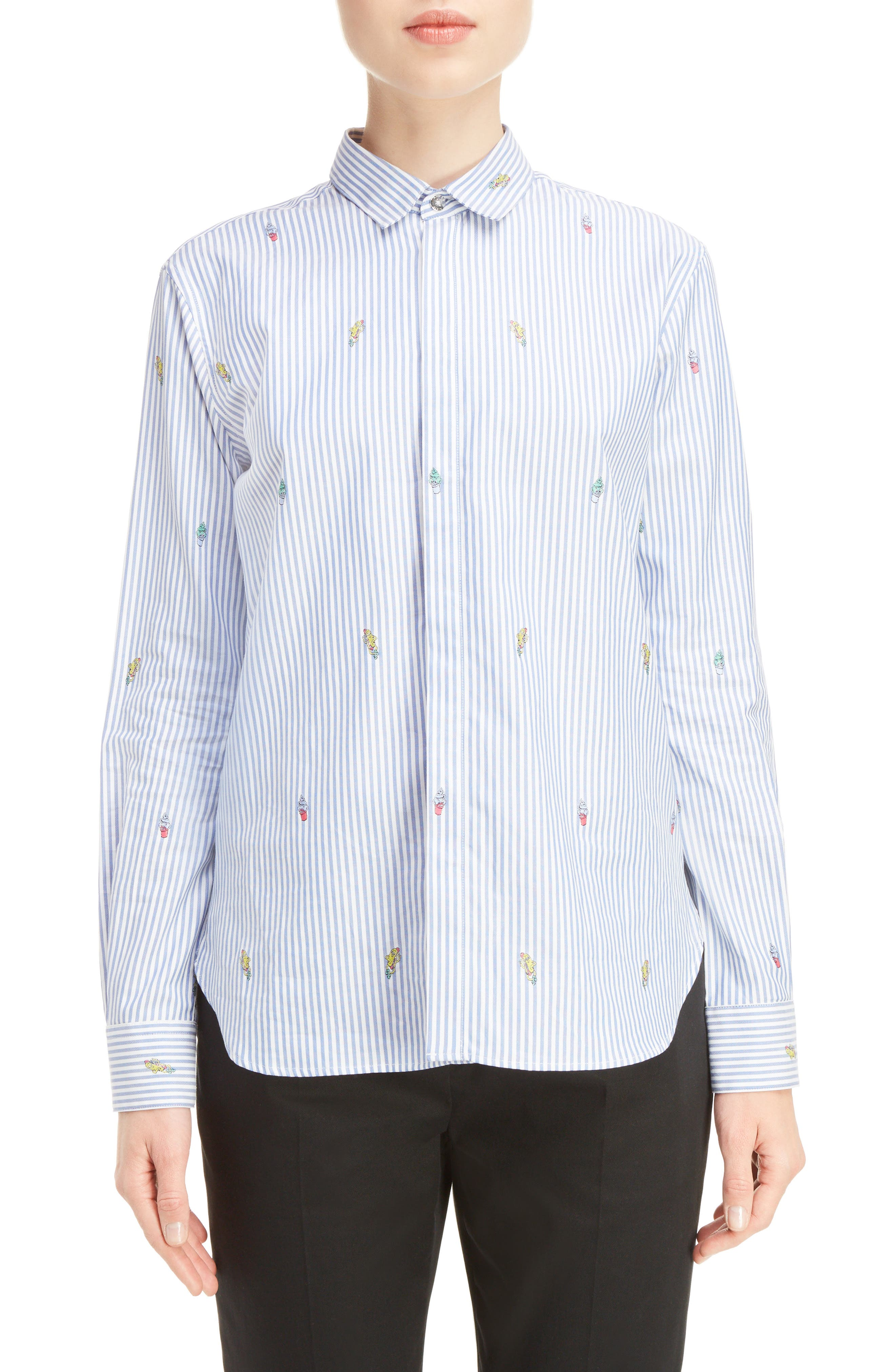 KENZO Cartoon Stripe Silk Jacquard Shirt