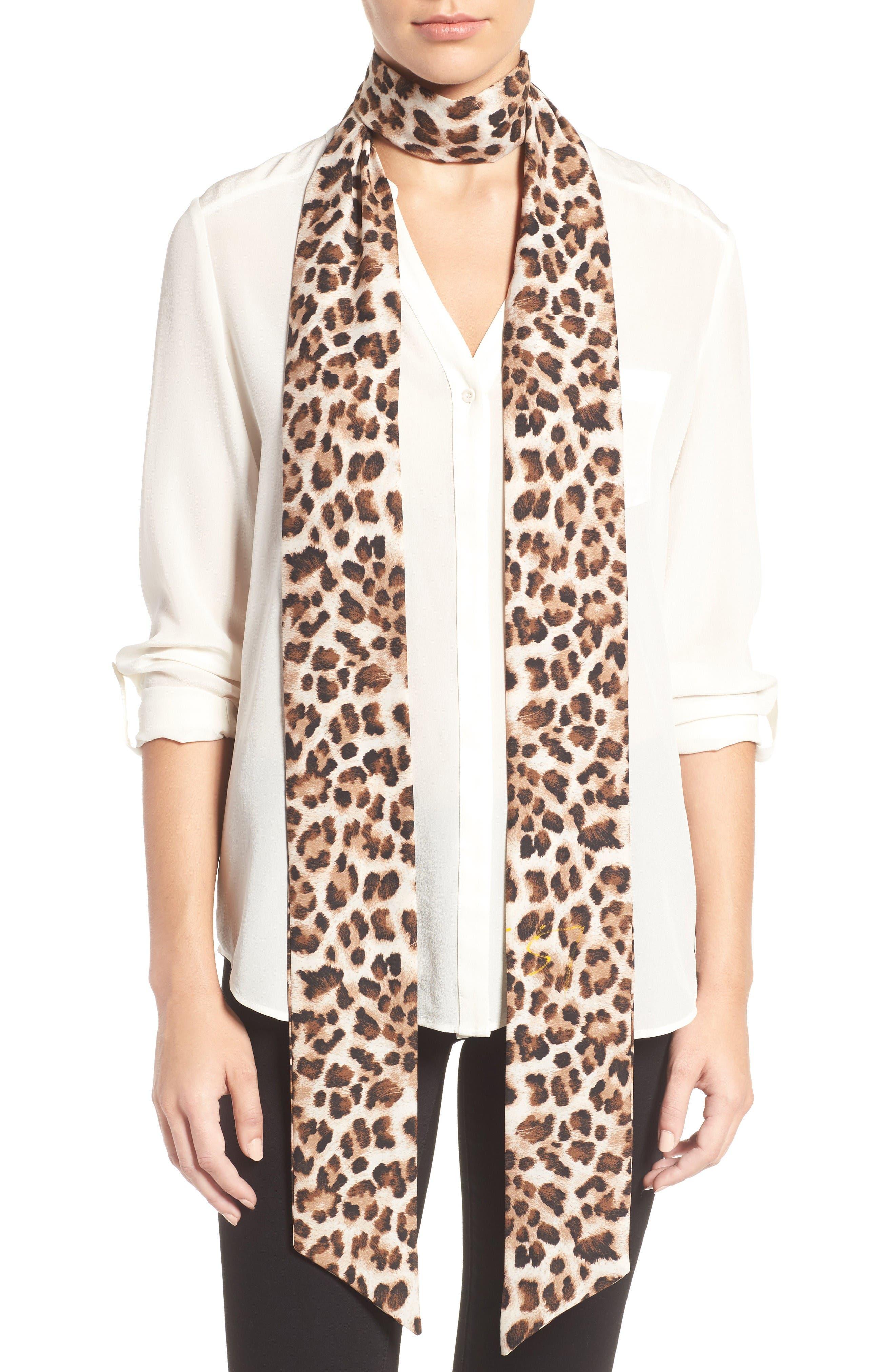Cara Cheetah Print Skinny Scarf