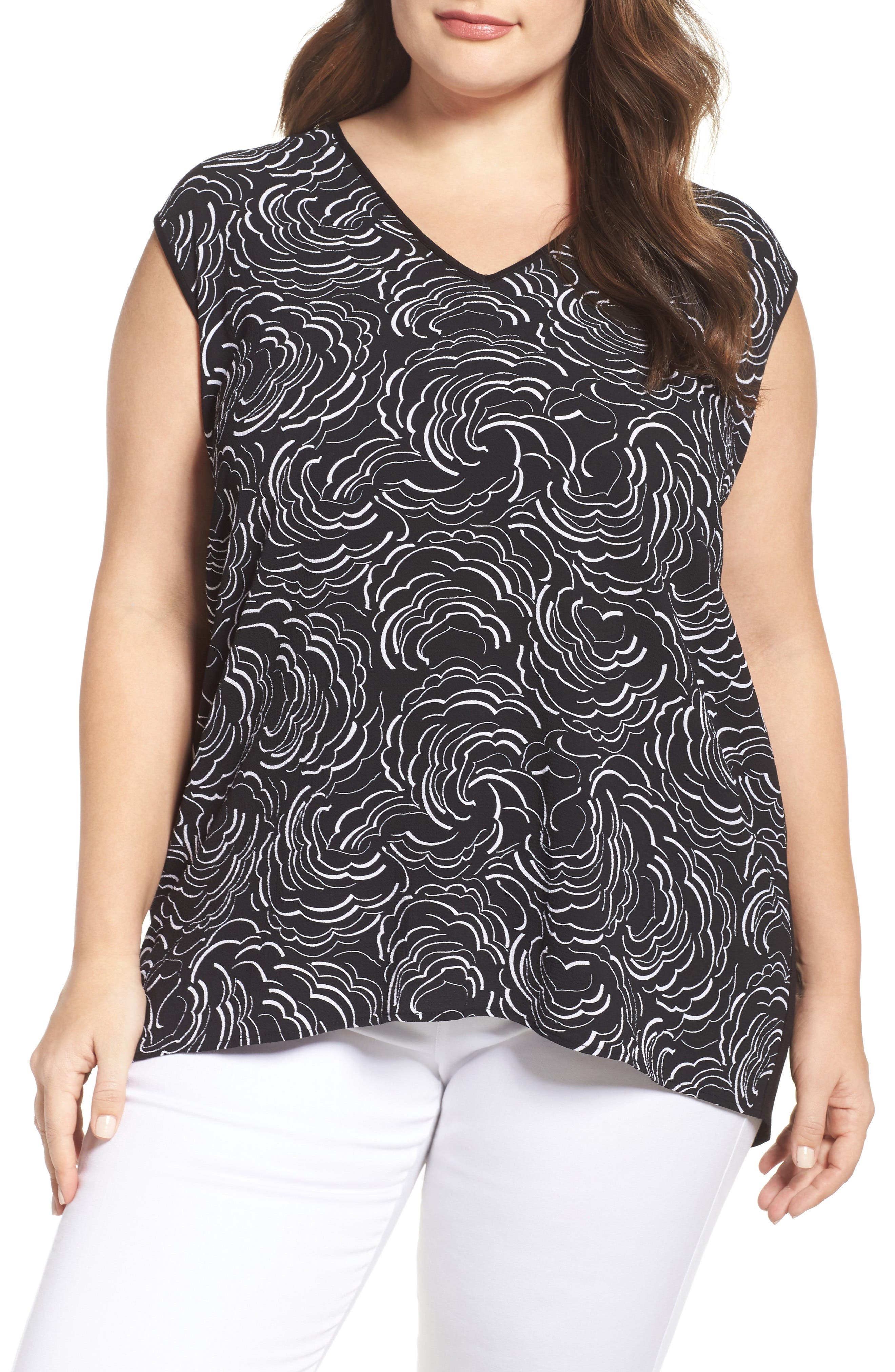 Vince Camuto Graphic Ribbons Mixed Media Top (Plus Size)