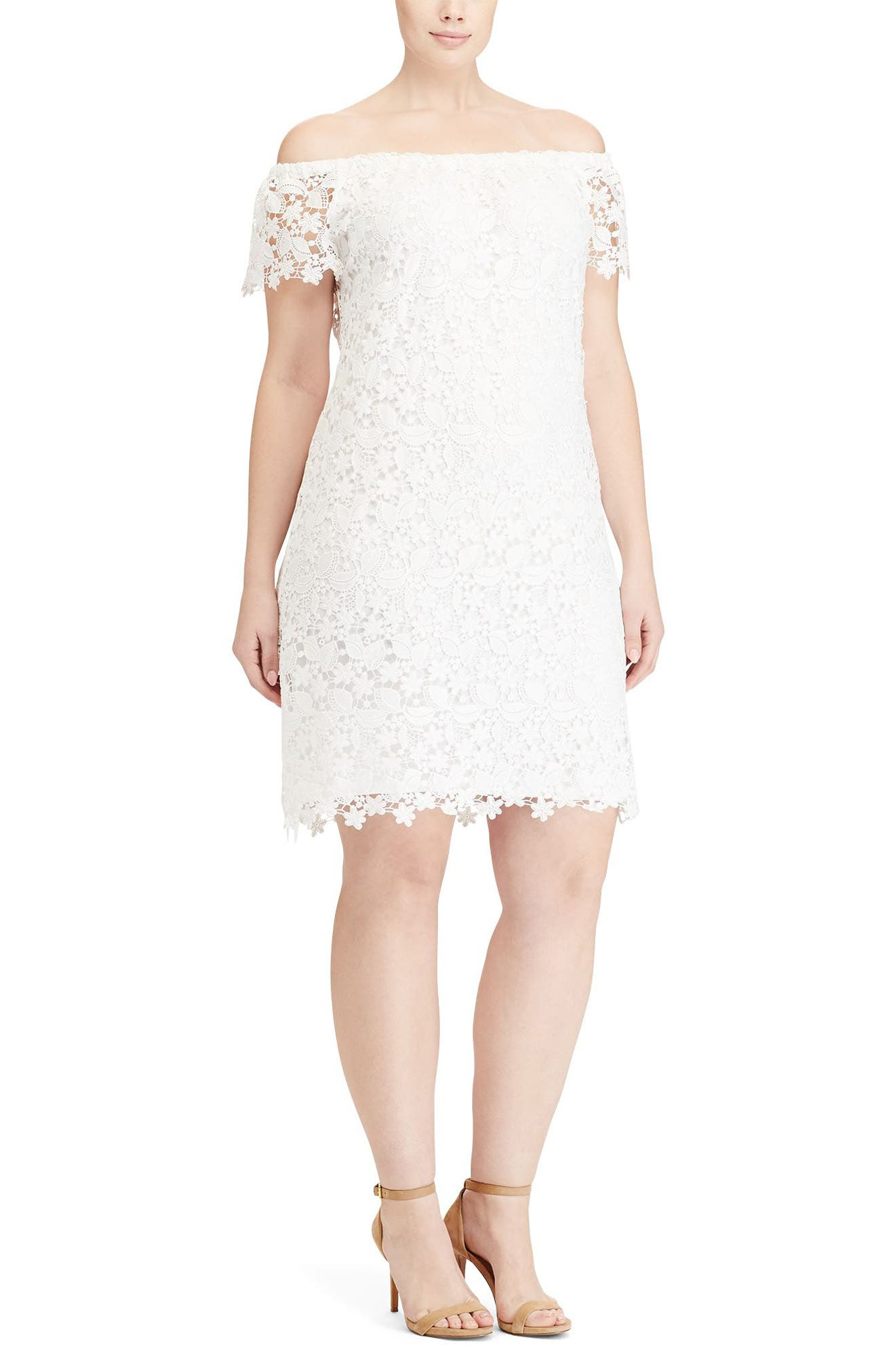 Lauren Ralph Lauren Off the Shoulder Lace Dress (Plus Size)