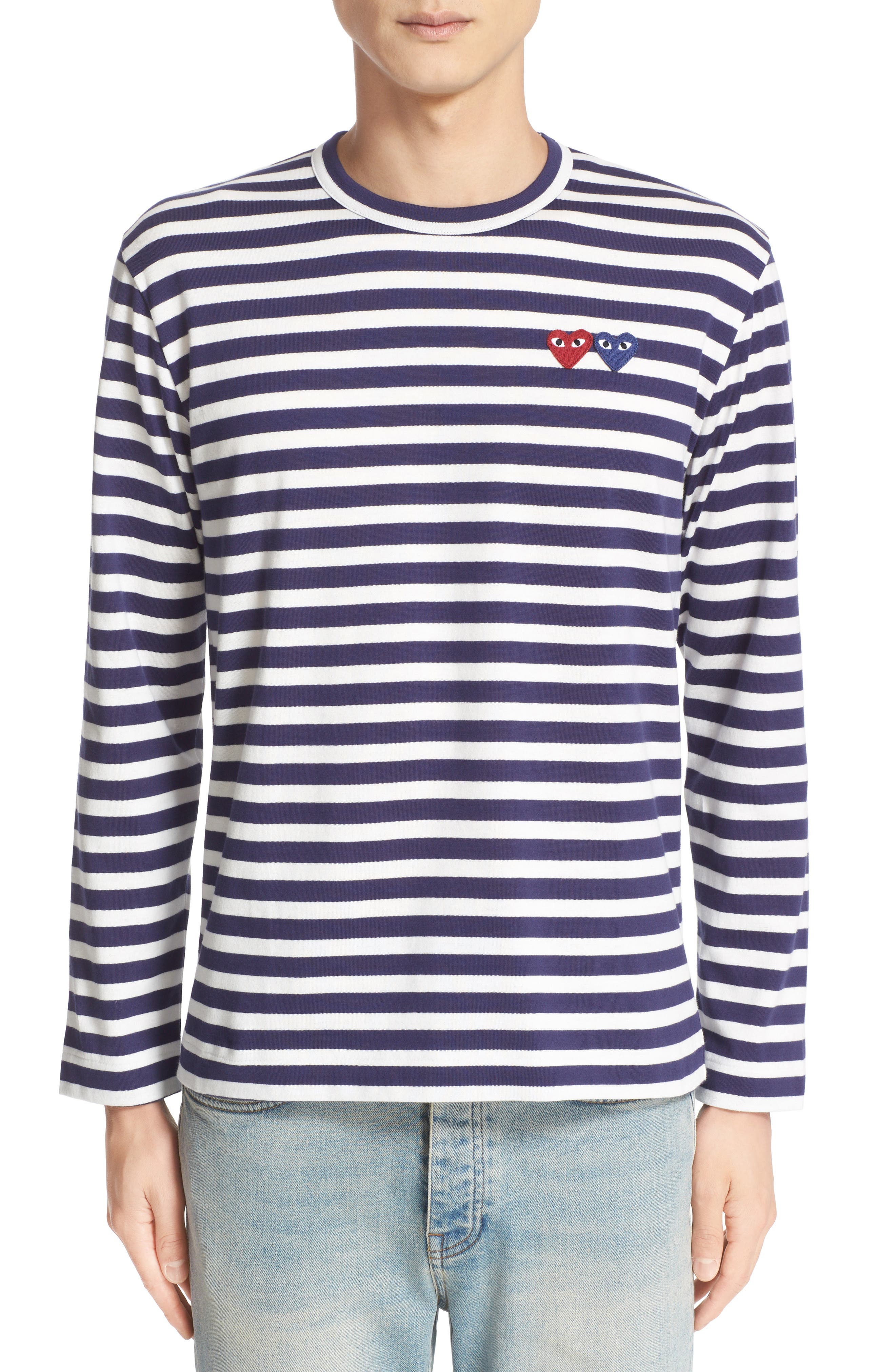 Main Image - Comme des Garçons Twin Appliqué Stripe T-Shirt