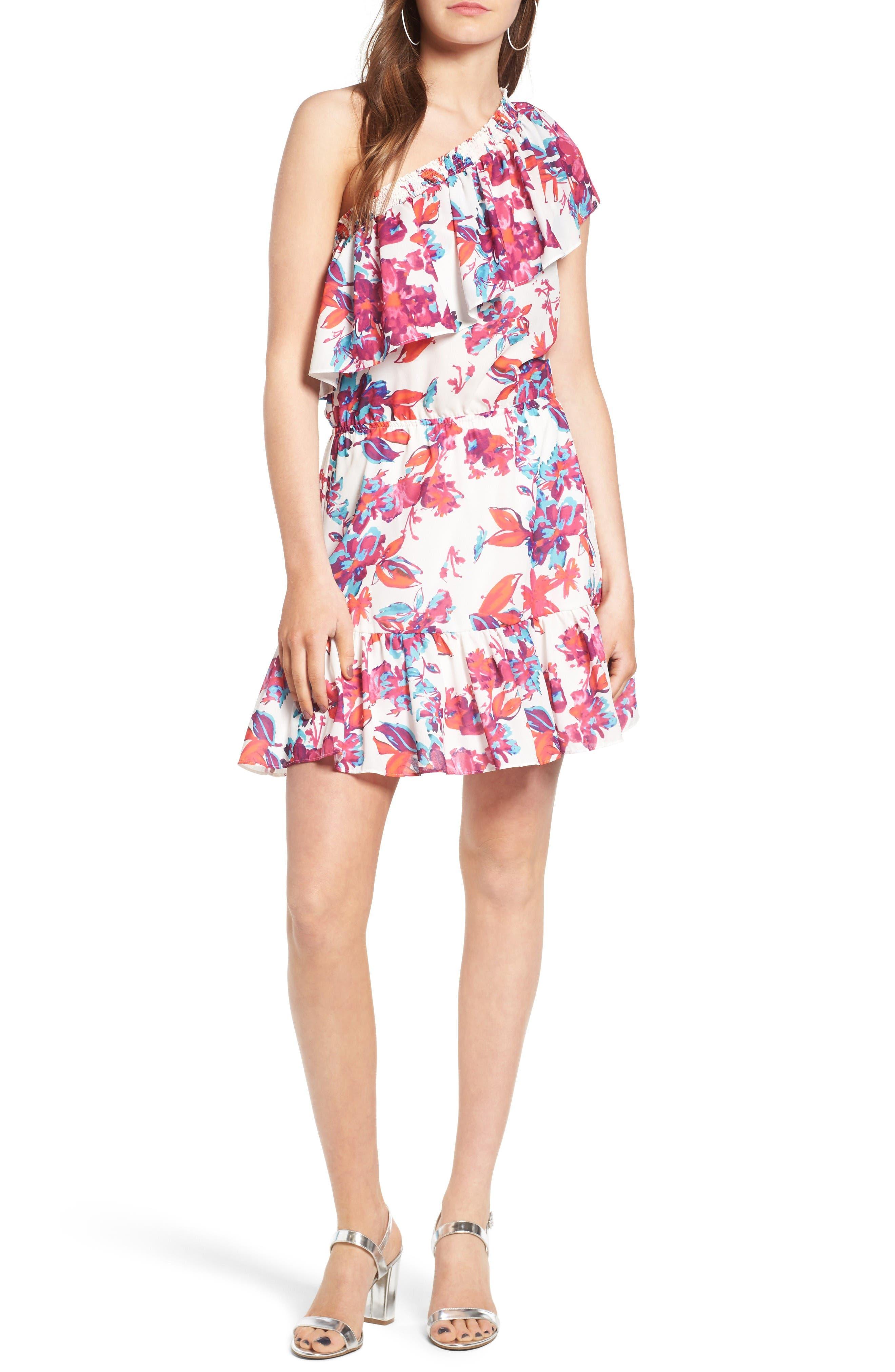 Alternate Image 1 Selected - devlin Thea One-Shoulder Minidress