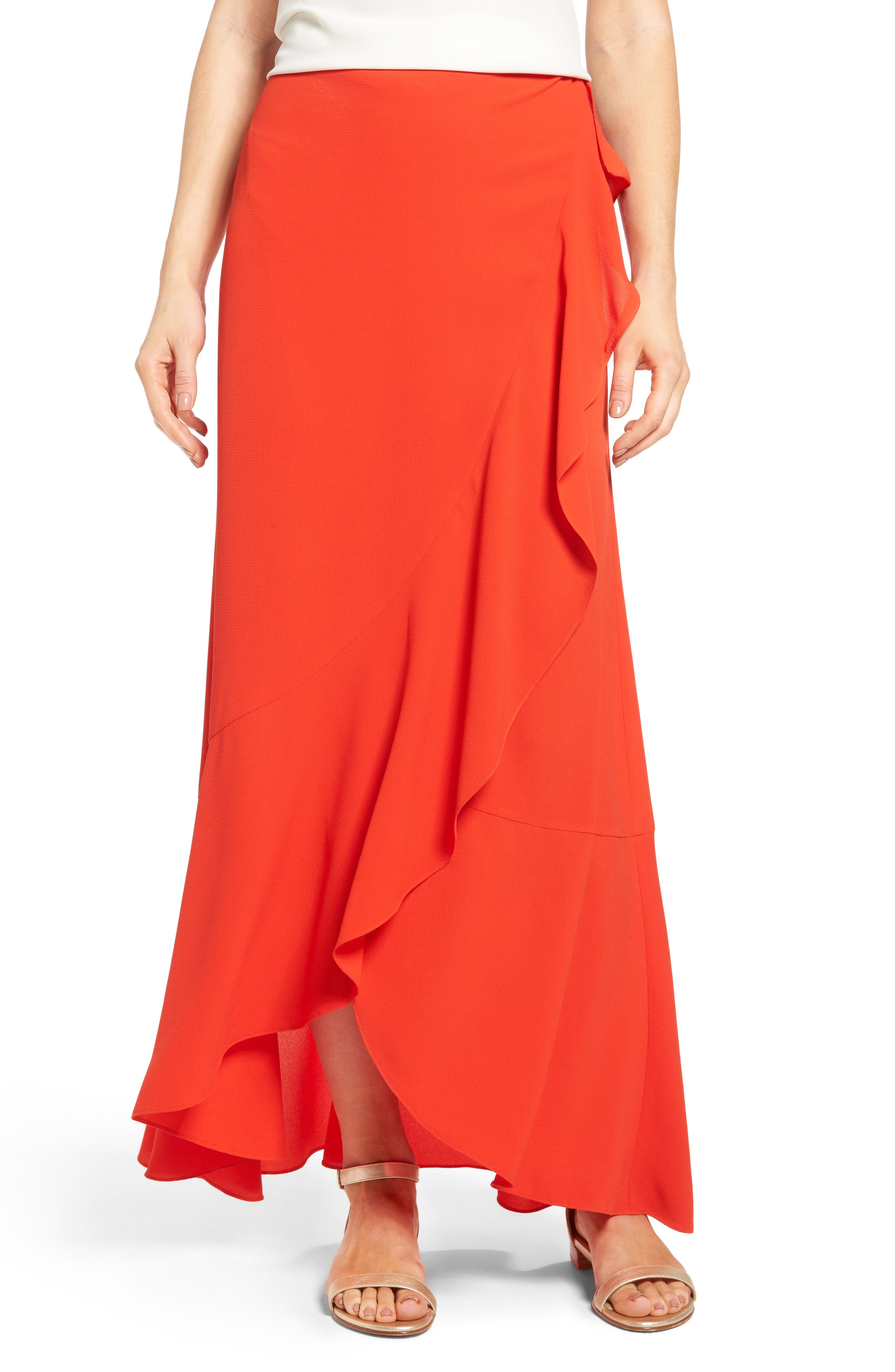 vince camuto faux wrap ruffled maxi skirt nordstrom