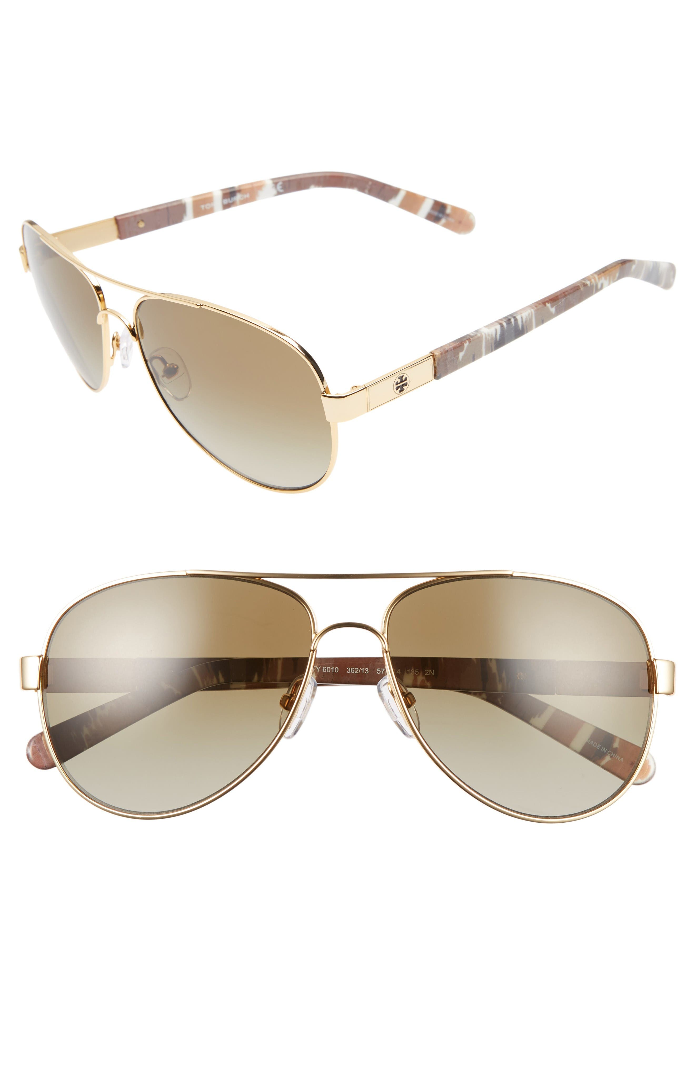 Main Image - Tory Burch 57mm Aviator Sunglasses