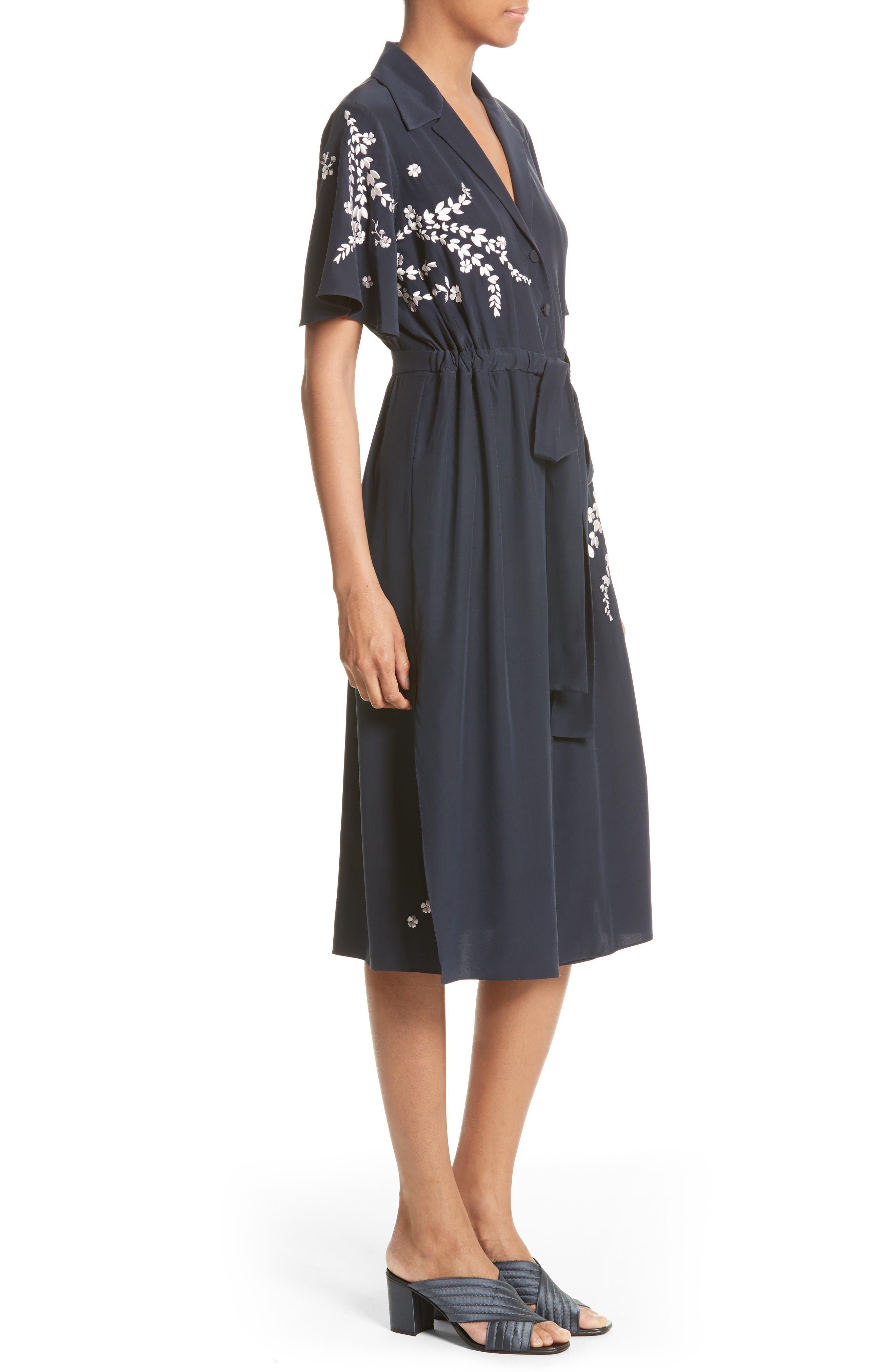 Alternate Image 3  - Cinq à Sept Lenore Embroidered Silk Shirtdress