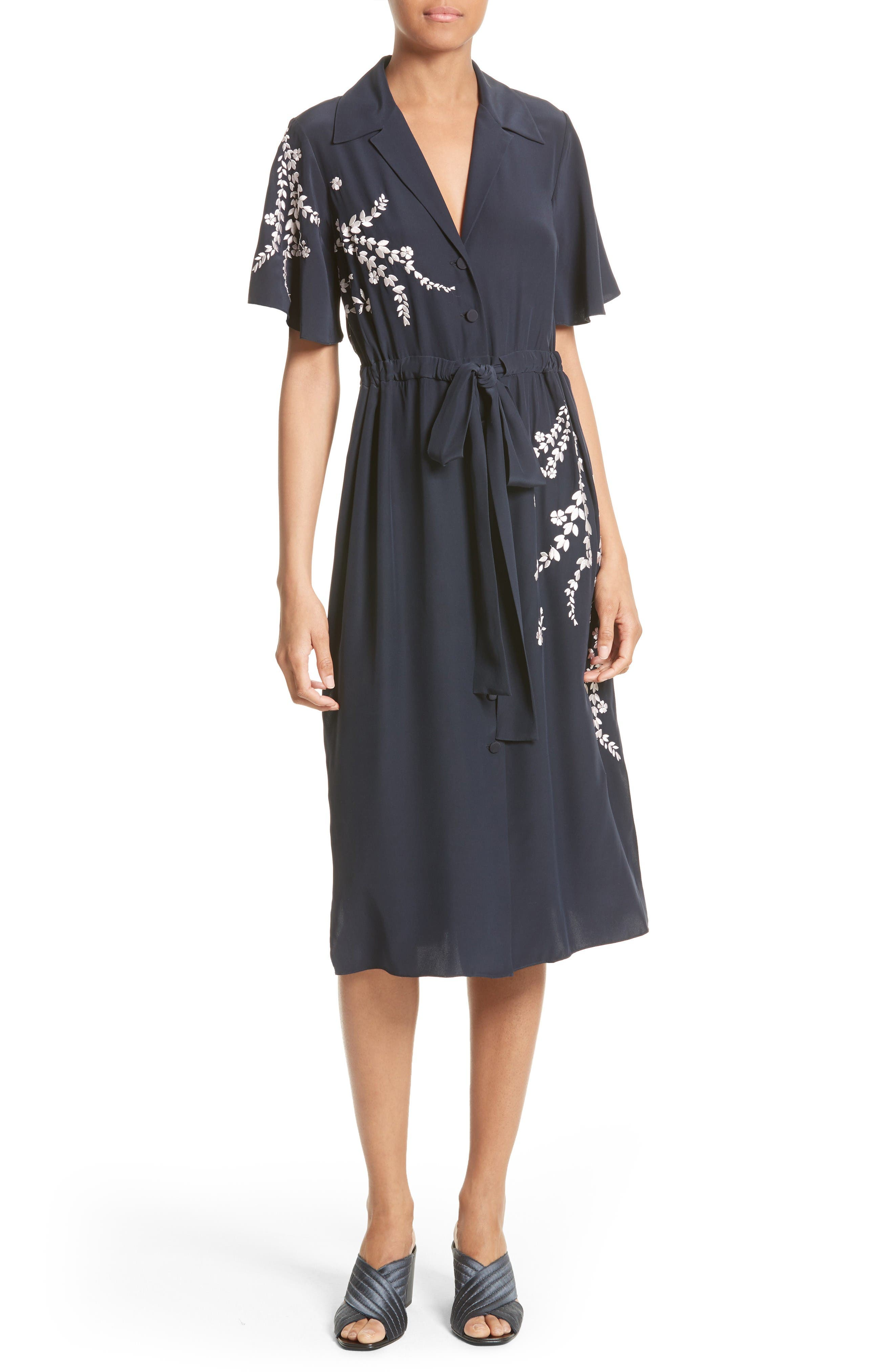 Main Image - Cinq à Sept Lenore Embroidered Silk Shirtdress
