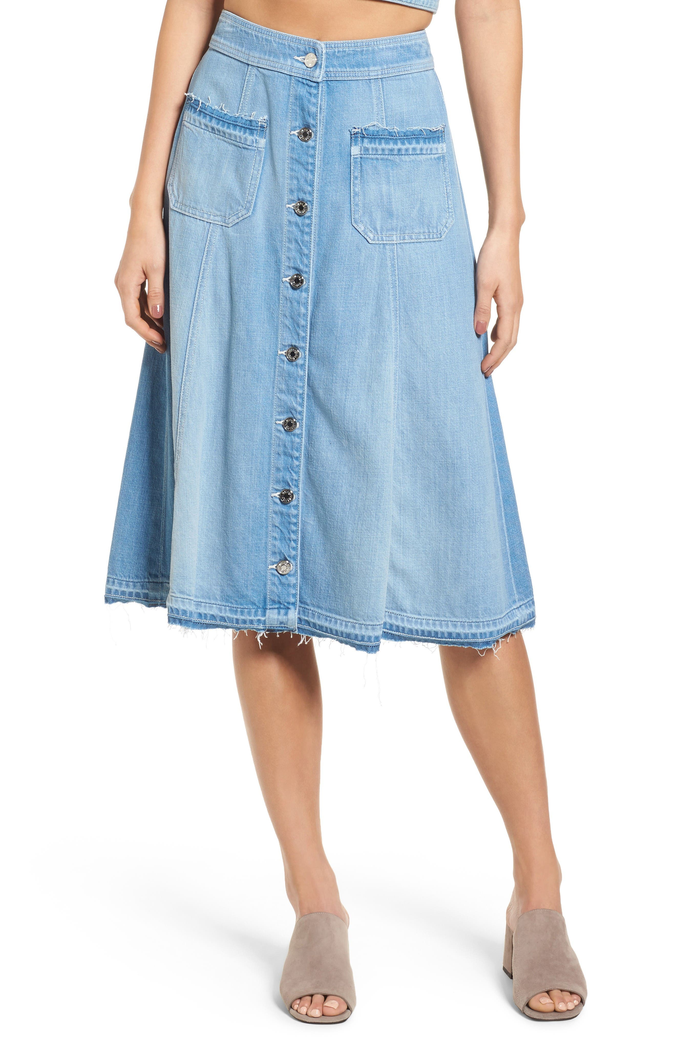 7 For All Mankind® Button Front Denim Midi Skirt