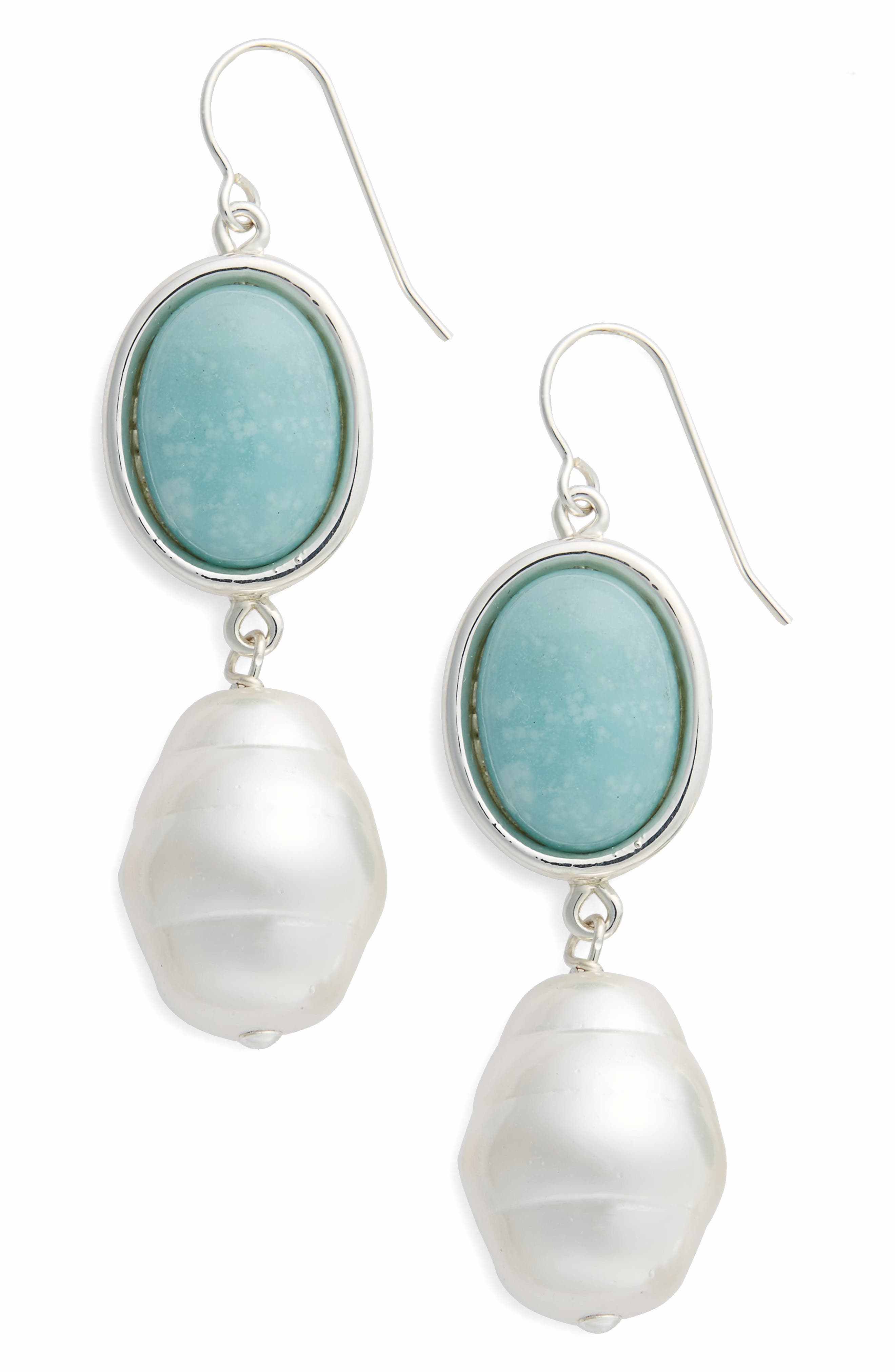 Simon Sebbag Semiprecious Stone & Imitation Pearl Drop Earrings