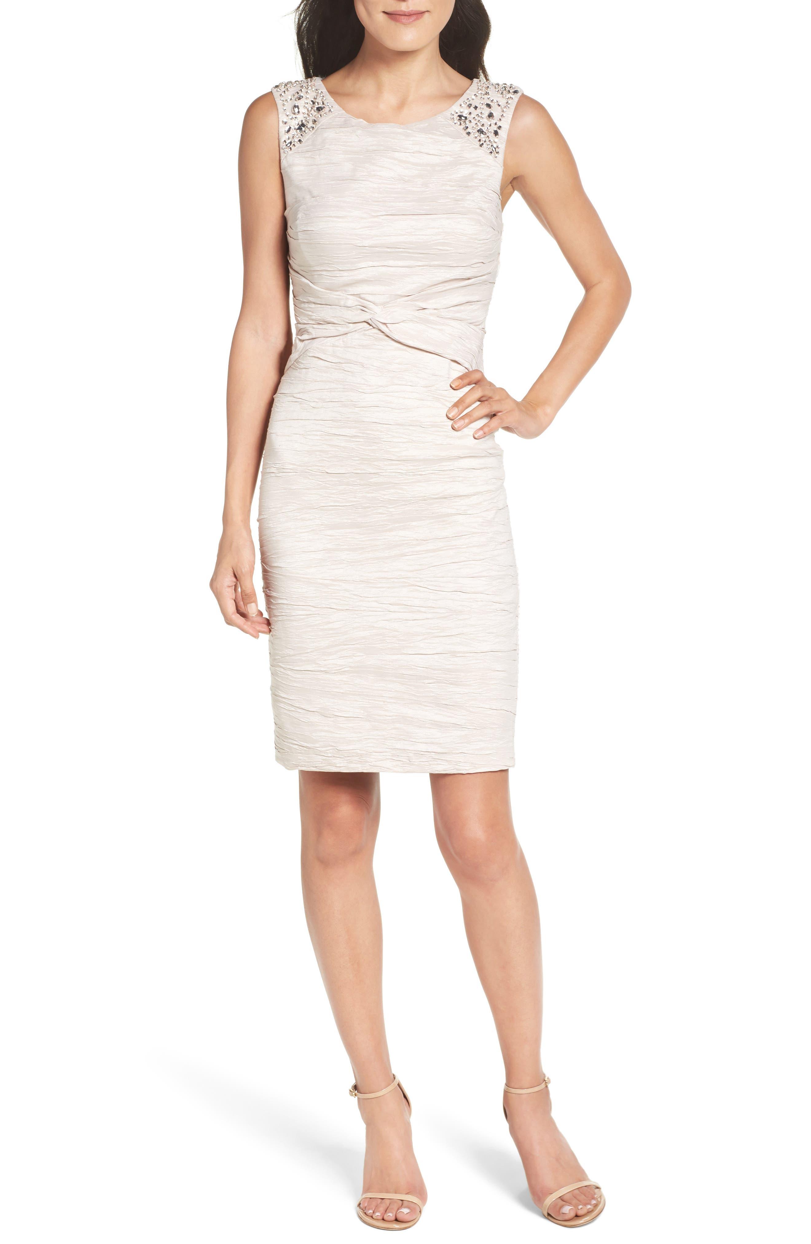 Eliza J Embellished Sheath Dress (Petite)