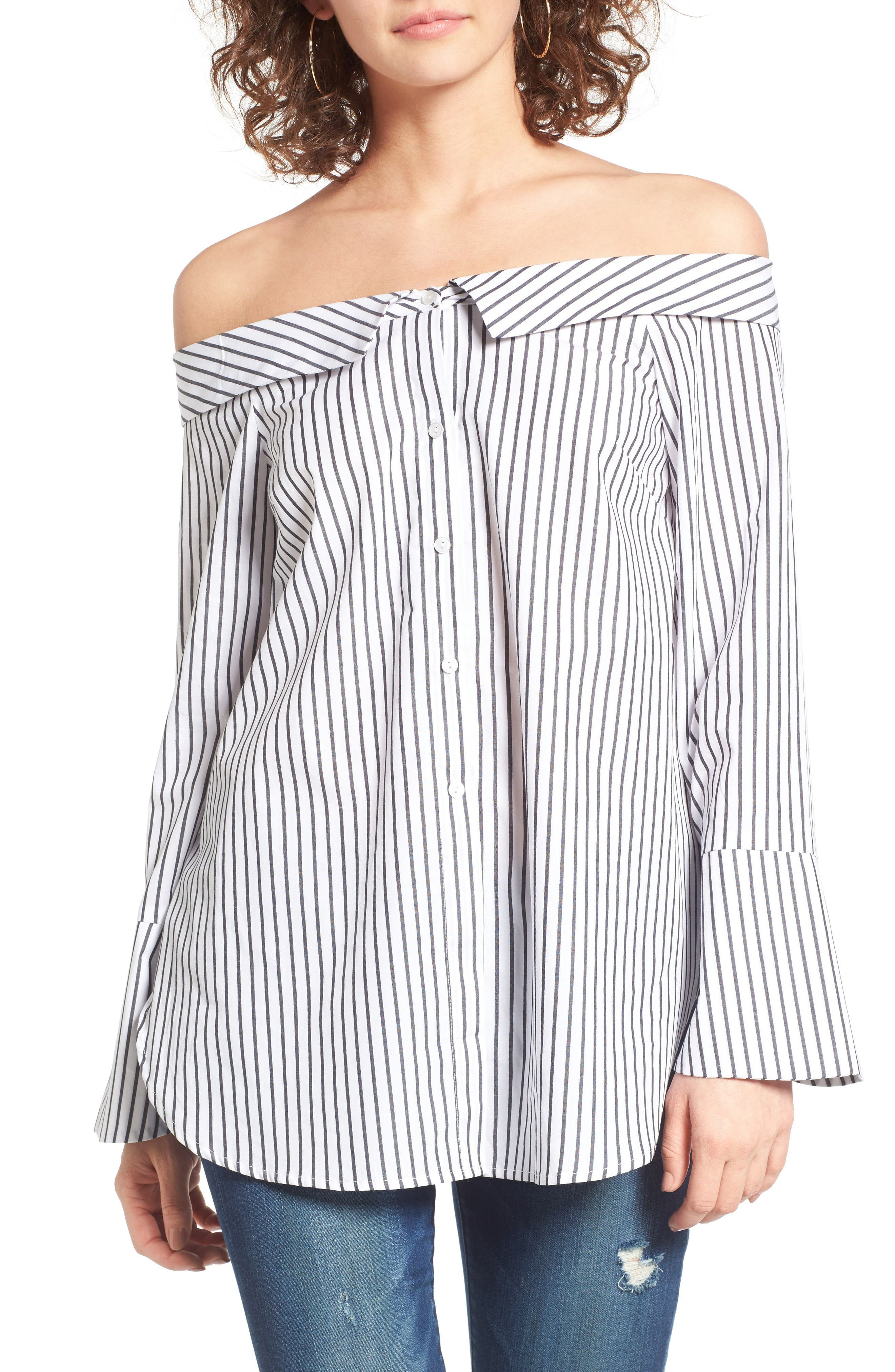Alternate Image 1 Selected - Lush Stripe Off the Shoulder Top