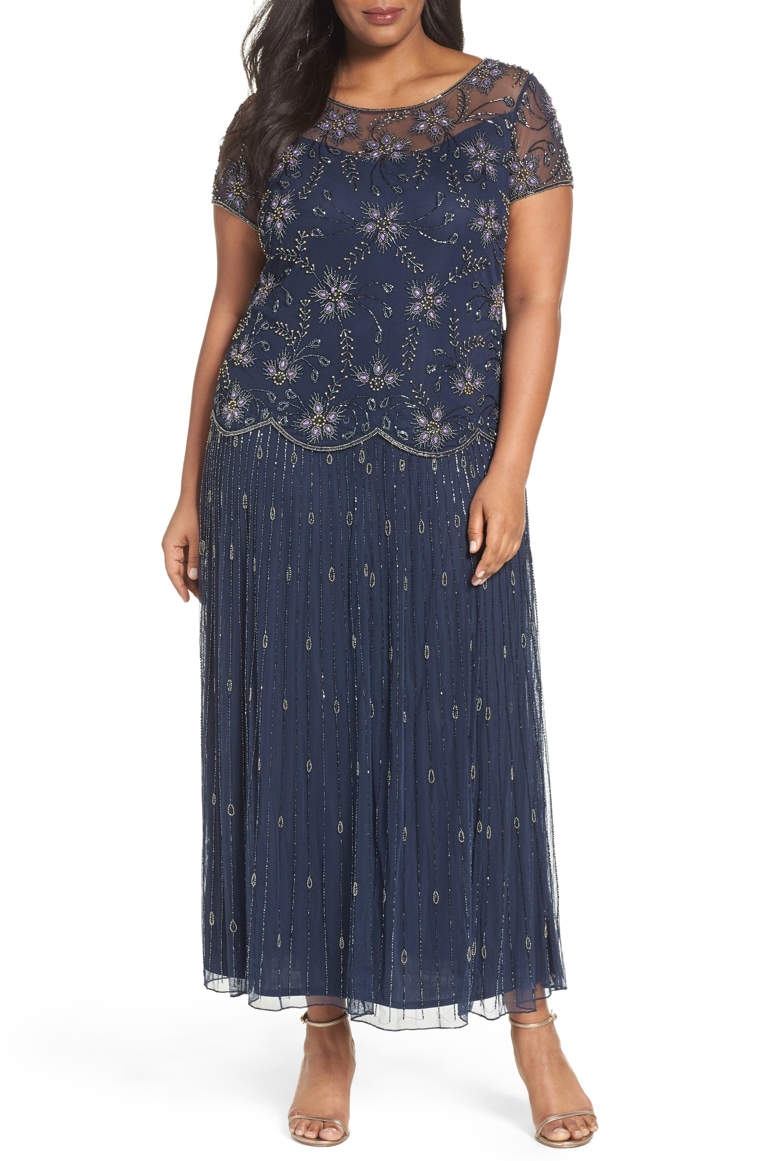 Pisarro Nights Embellished Long Dress (Plus Size)