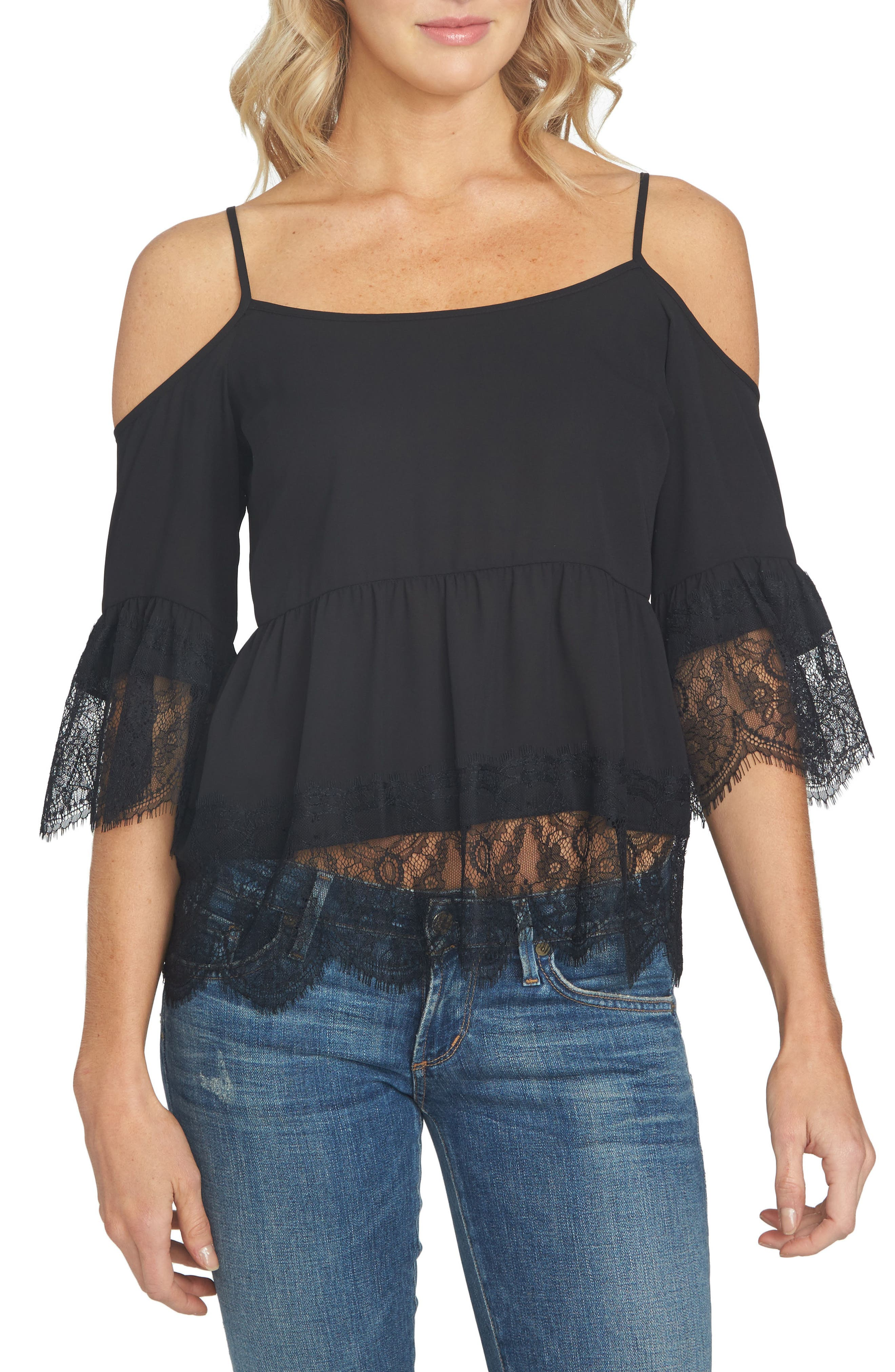1.STATE Cold Shoulder Lace Blouse