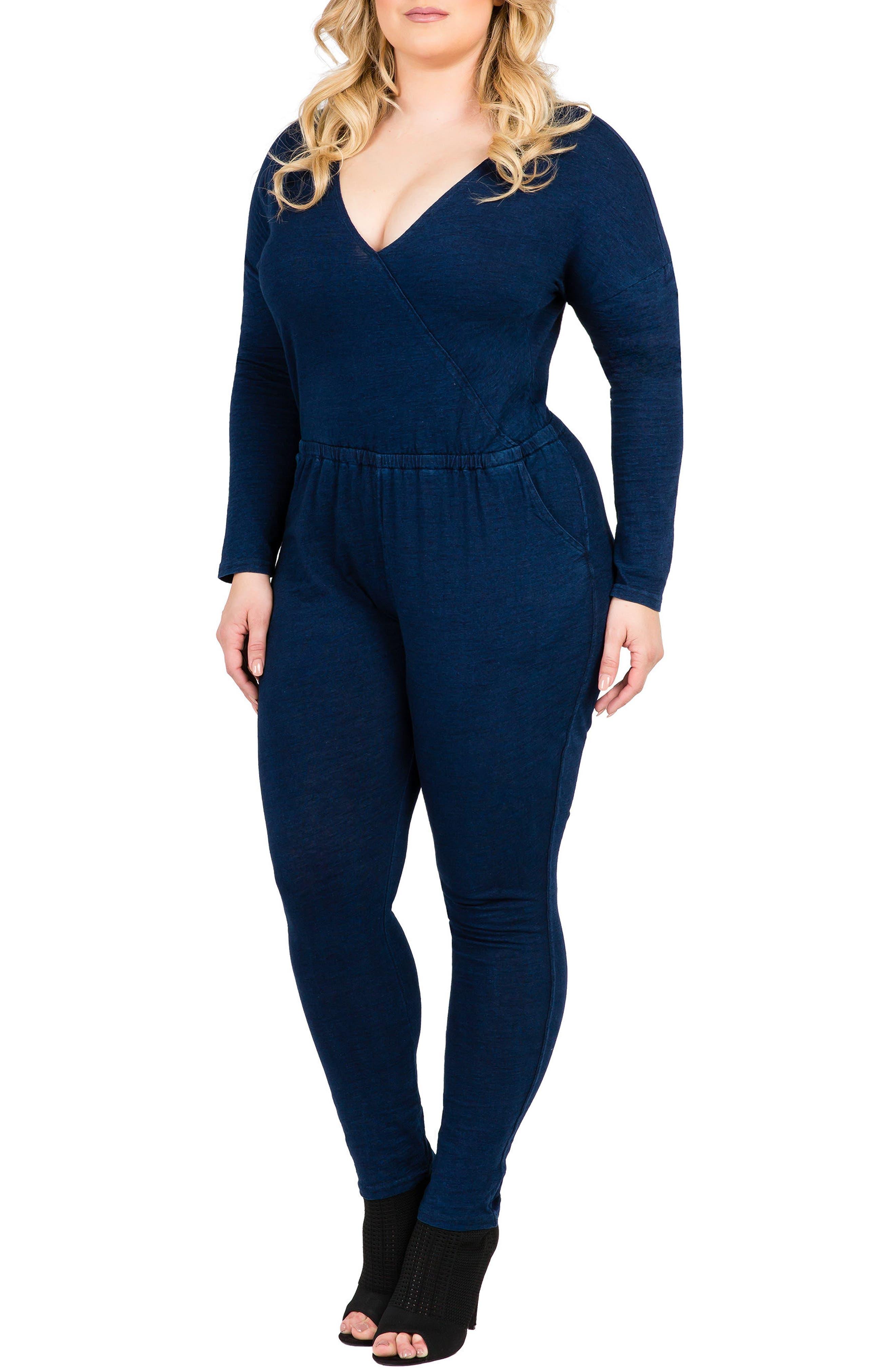 Standards & Practices Lucy Knit Denim Jumpsuit (Plus Size)