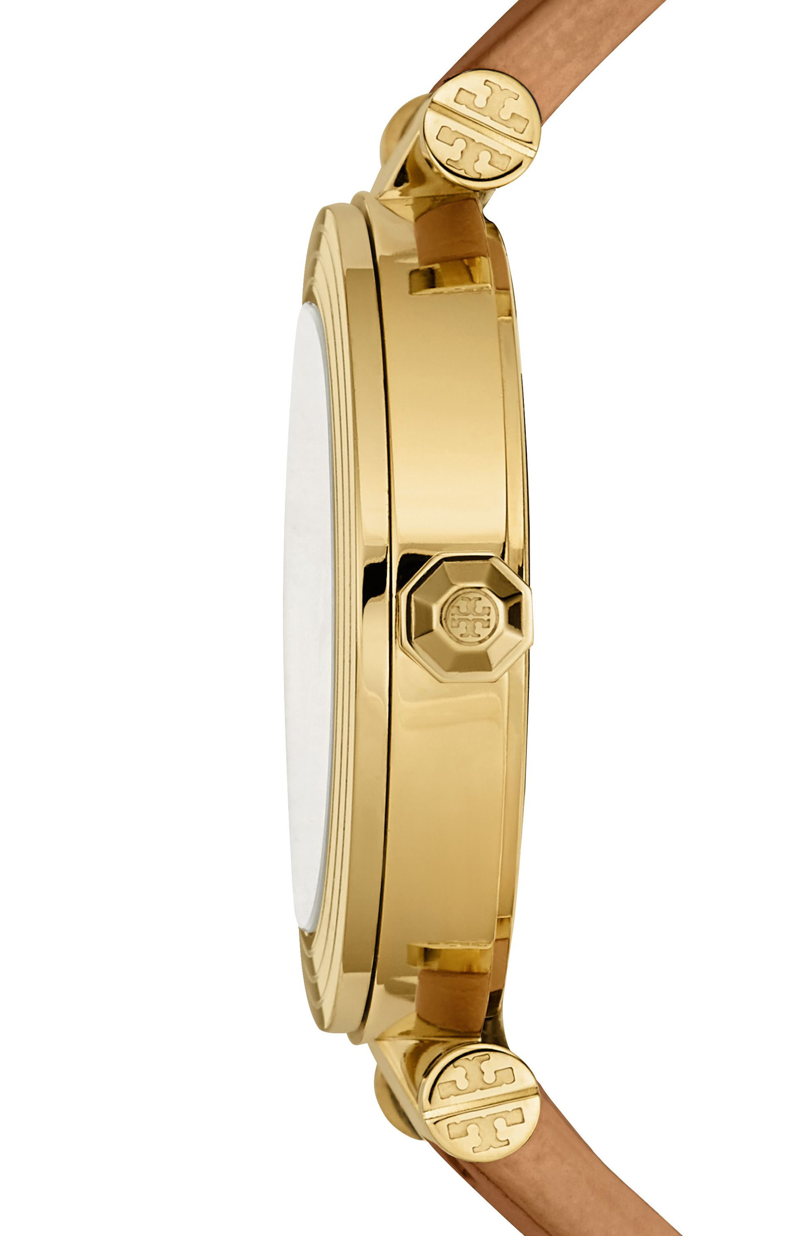 Alternate Image 2  - Tory Burch Classic-T Leather Strap Watch, 36mm