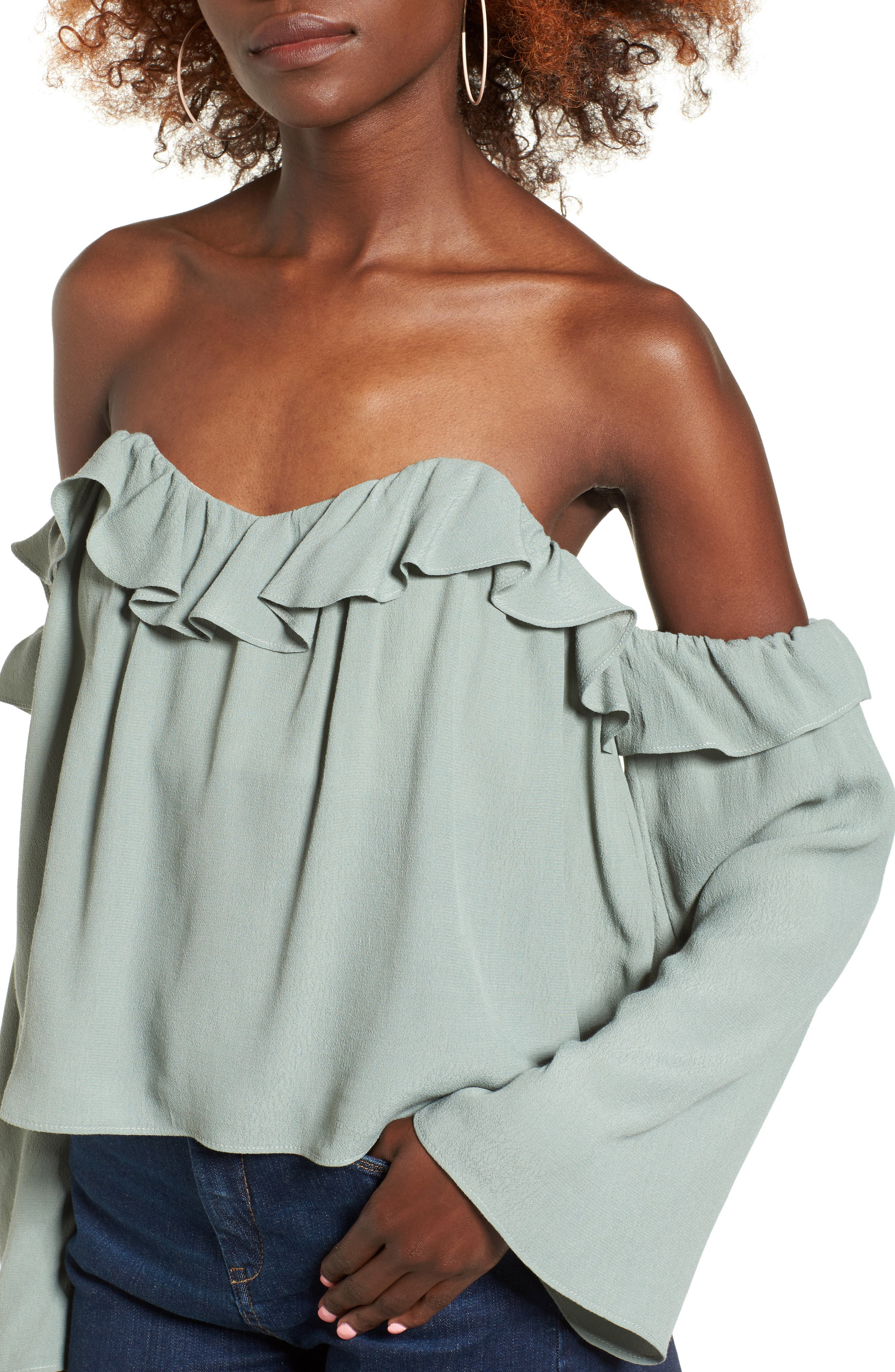 Alternate Image 4  - 4SI3NNA Ruffle Off the Shoulder Blouse