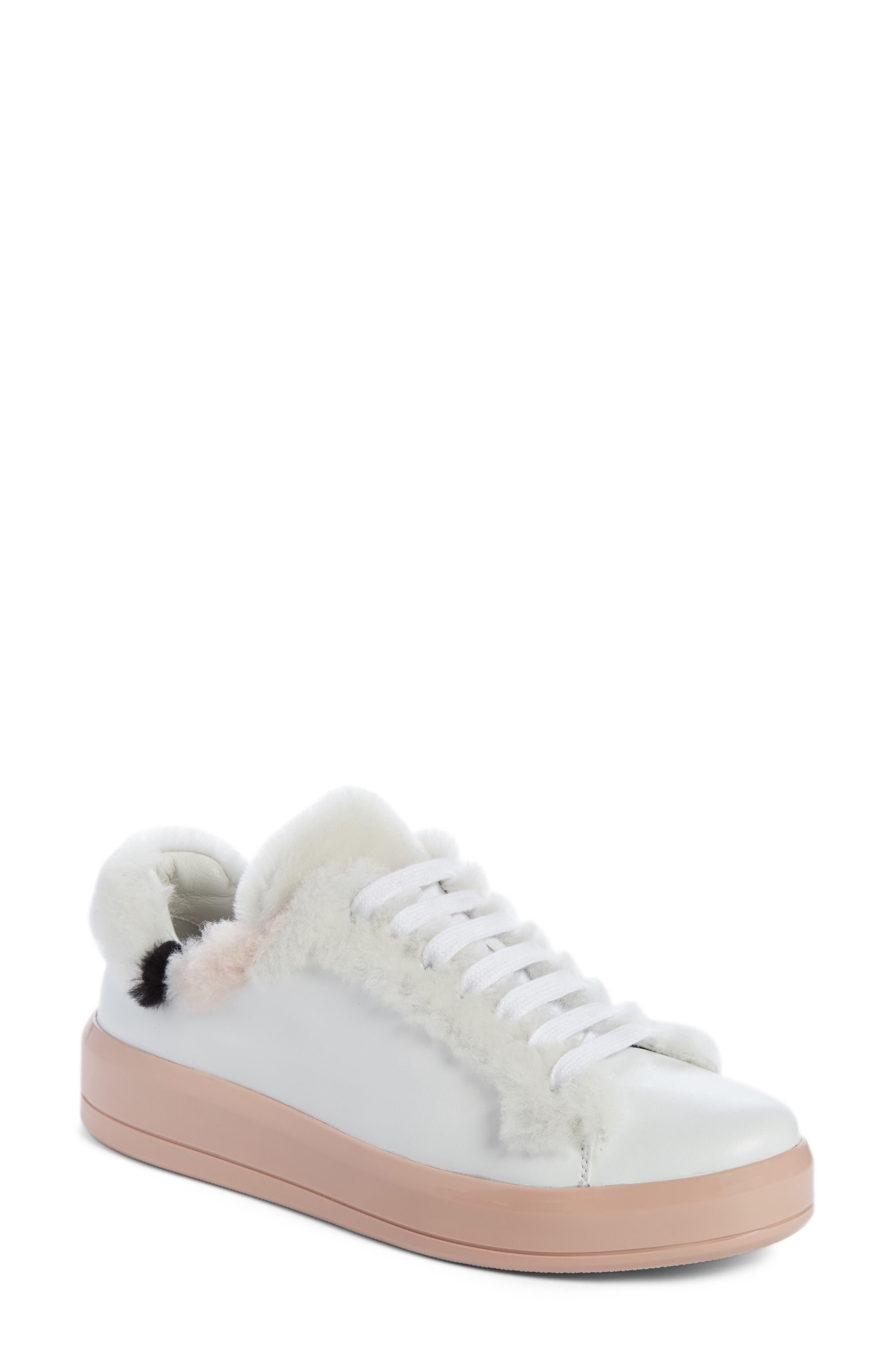 Prada Genuine Shearling Trim Platform Sneaker (Women)