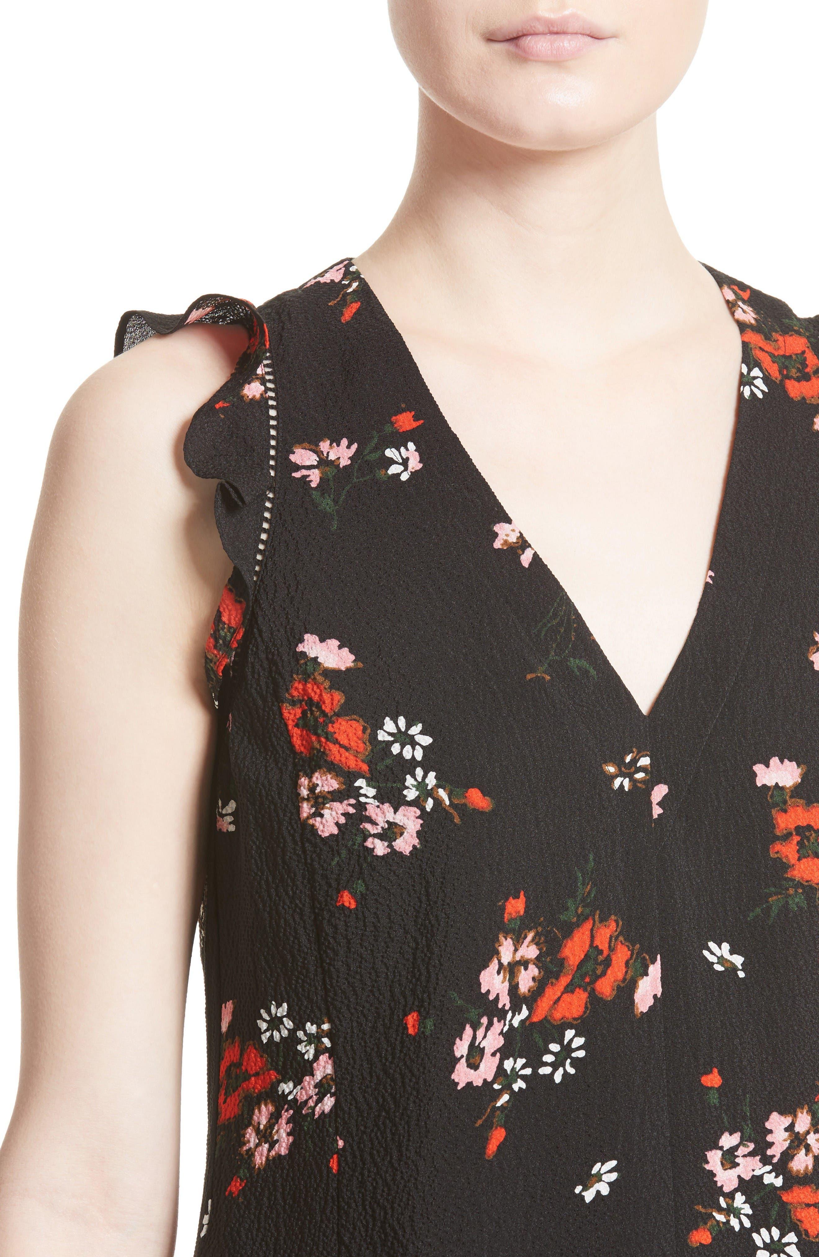 Alternate Image 4  - Rebecca Taylor Marguerite Print Stretch Silk Top