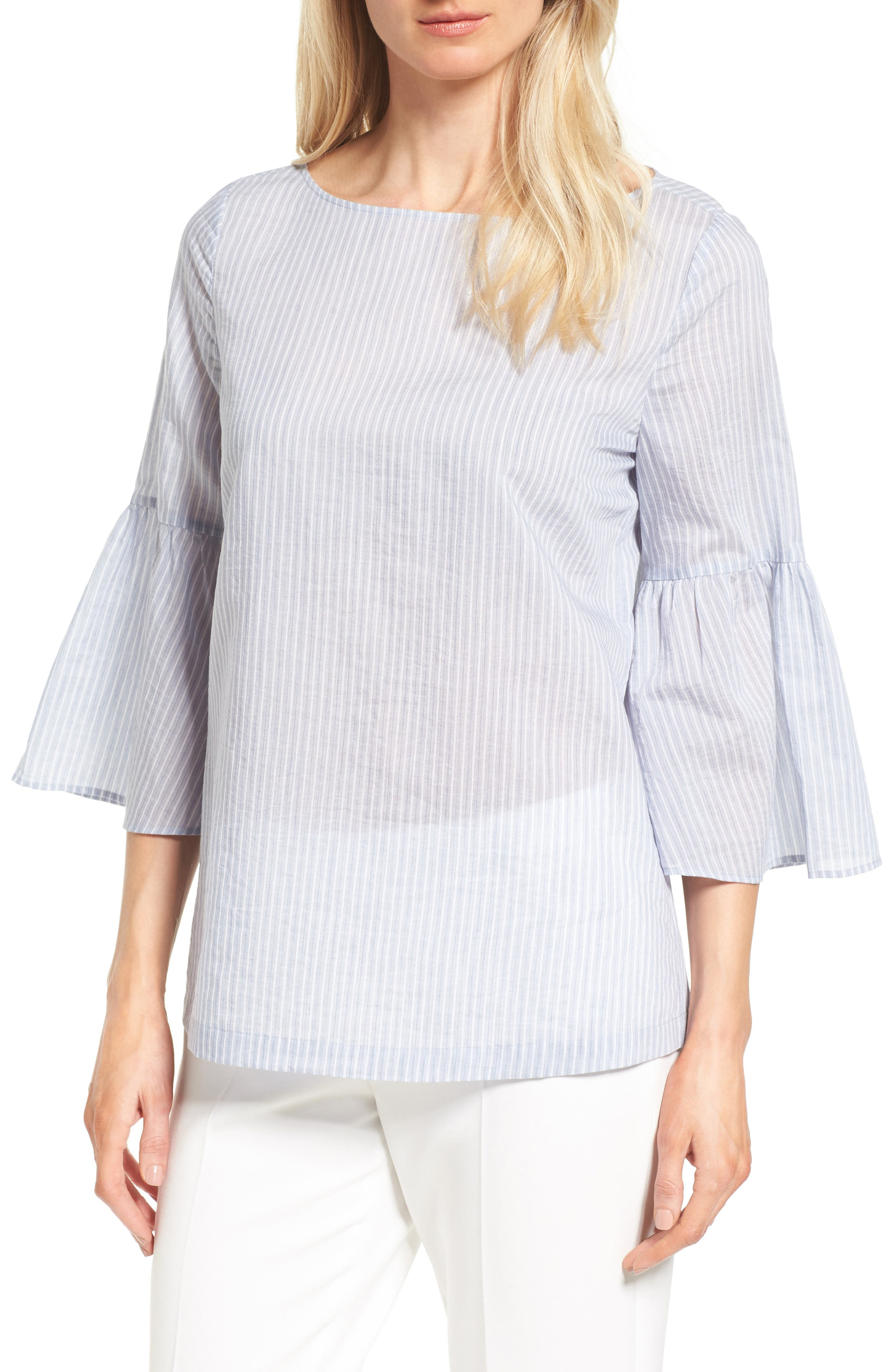 Nordstrom Collection Bell Sleeve Tie Back Top