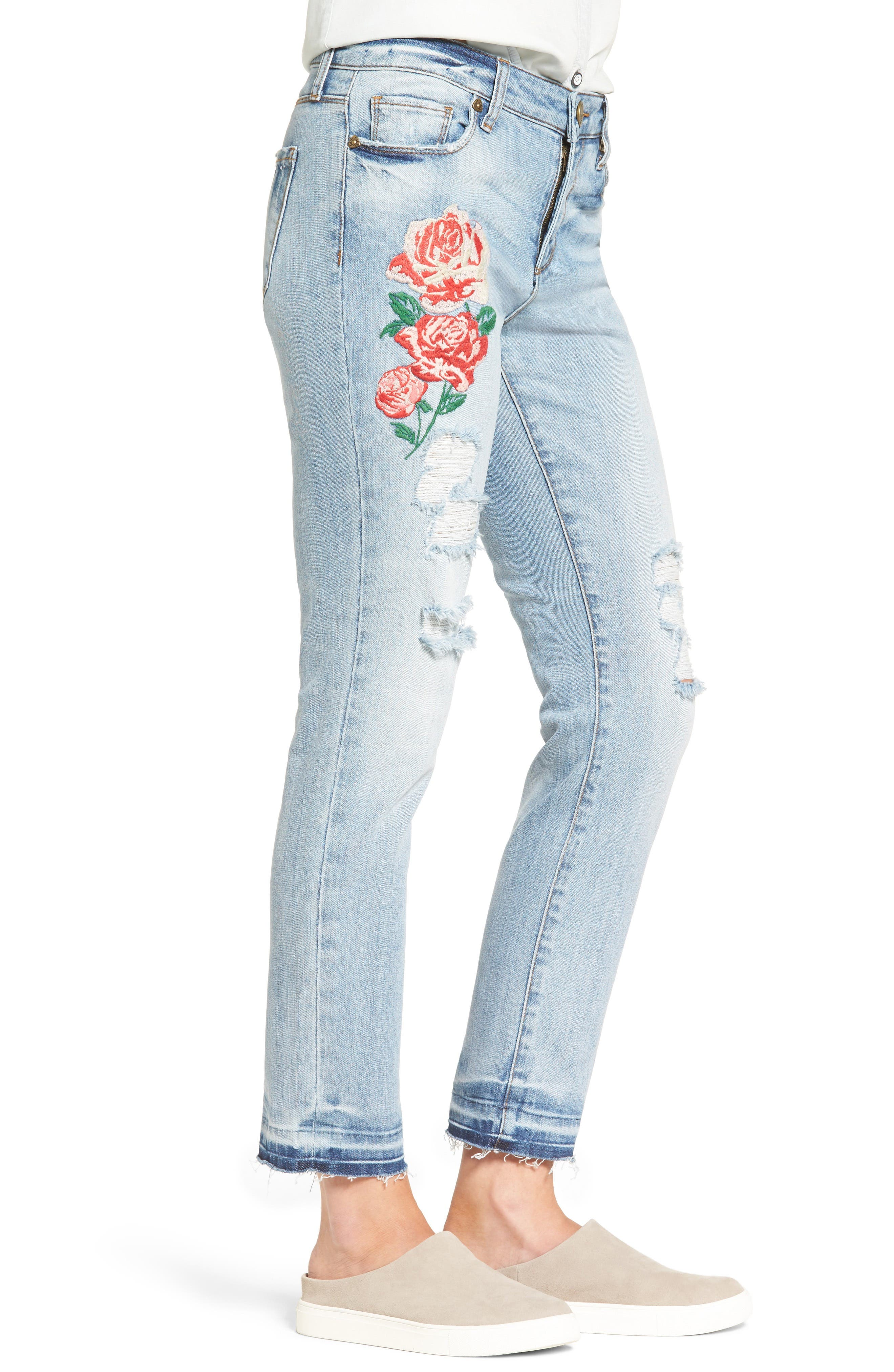 Alternate Image 4  - KUT from the Kloth Embroidered Straight Leg Jeans (Excellency) (Regular & Petite)