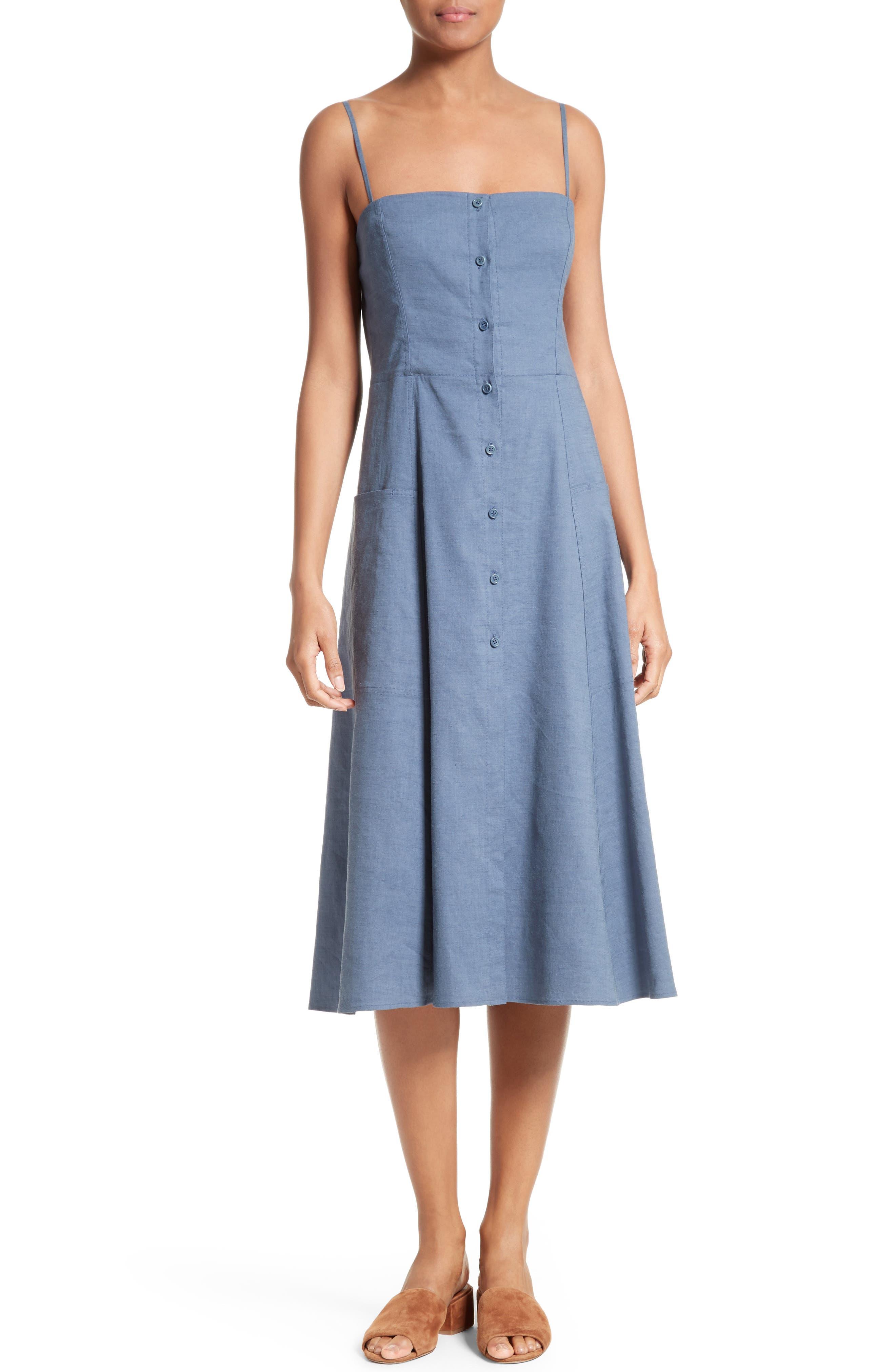 Main Image - Theory Kayleigh Crunch Wash Chambray Midi Dress