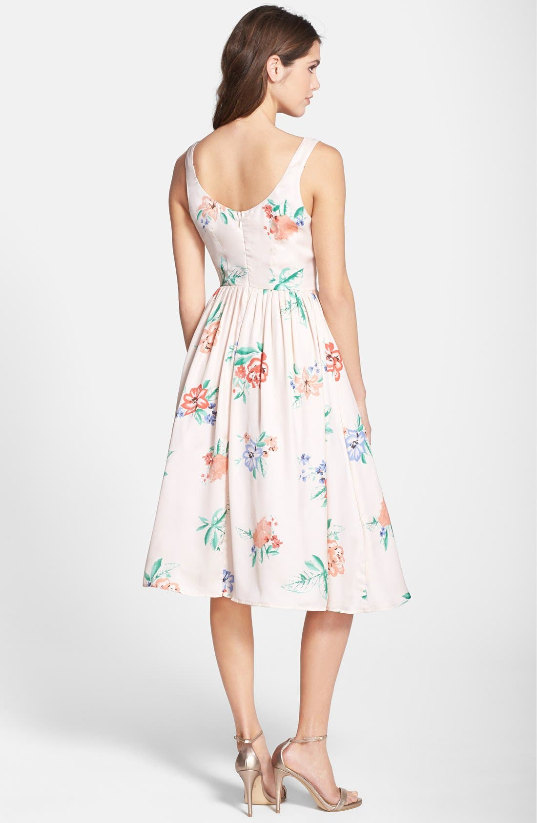 Alternate Image 2  - BB Dakota 'Heleen' Floral Print Fit & Flare Midi Dress