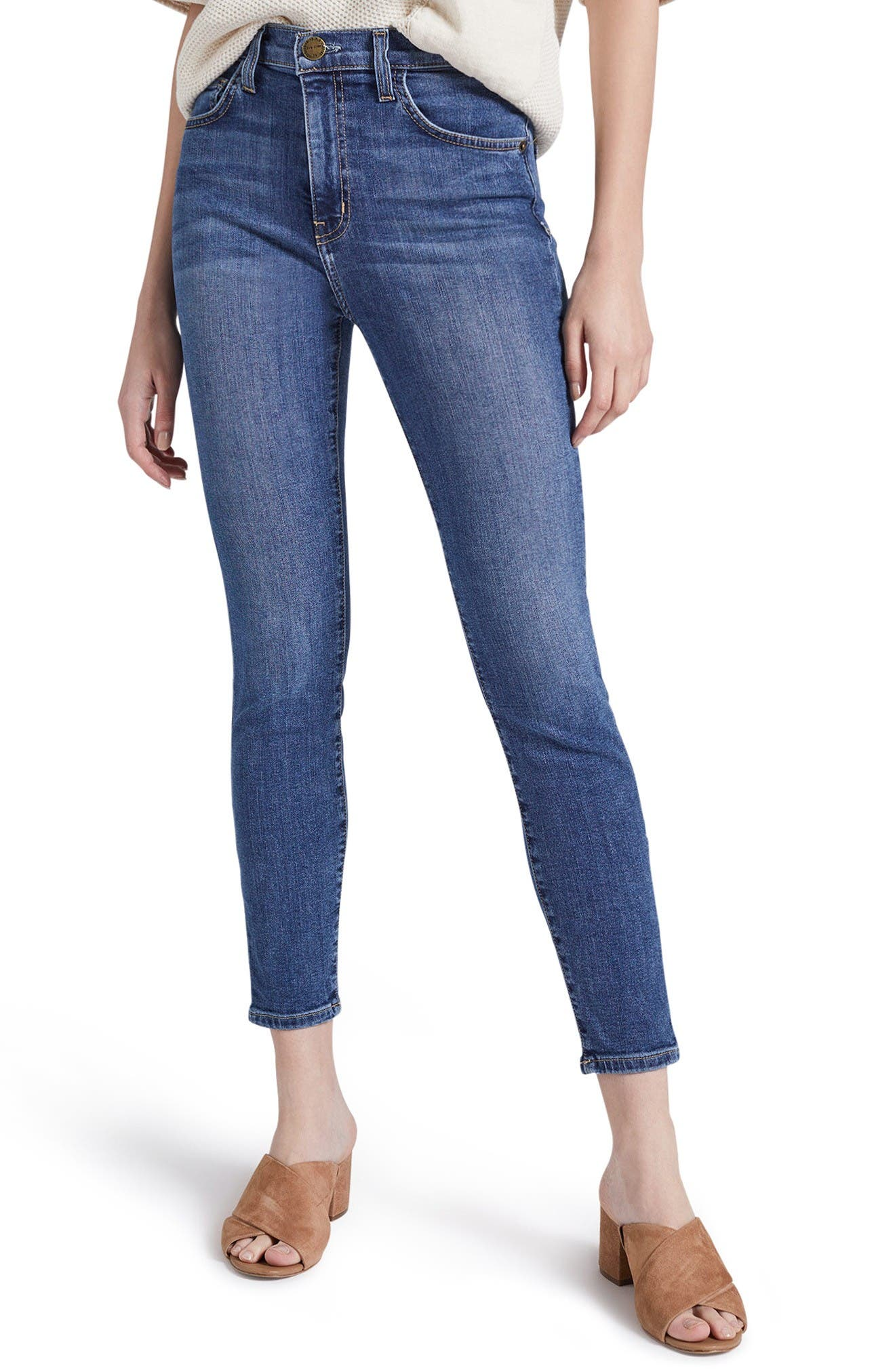 Current/Elliott The Super High Waist Stiletto Crop Skinny Jeans (Morning Side)
