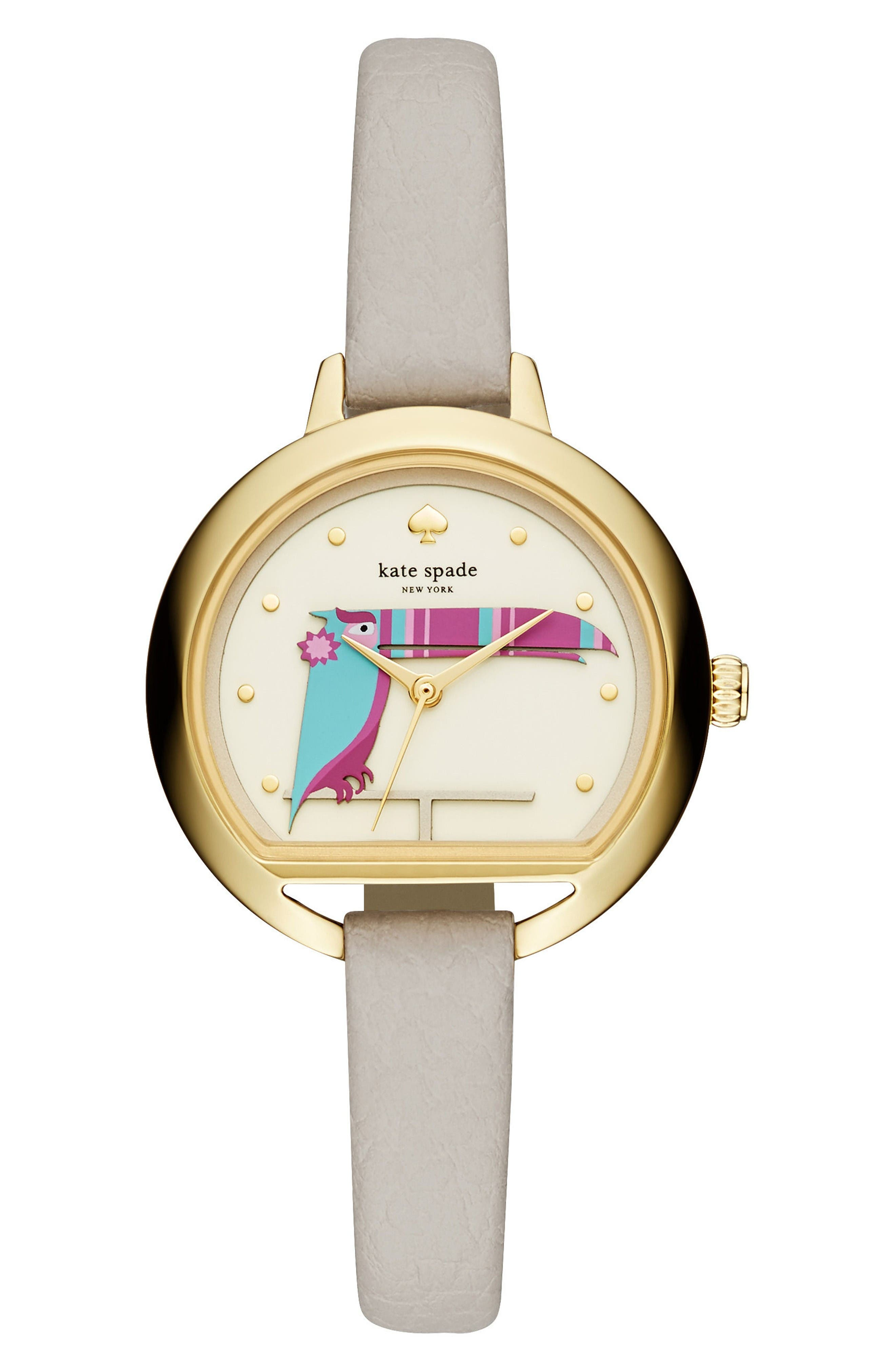kate spade new york round leather strap watch, 34mm