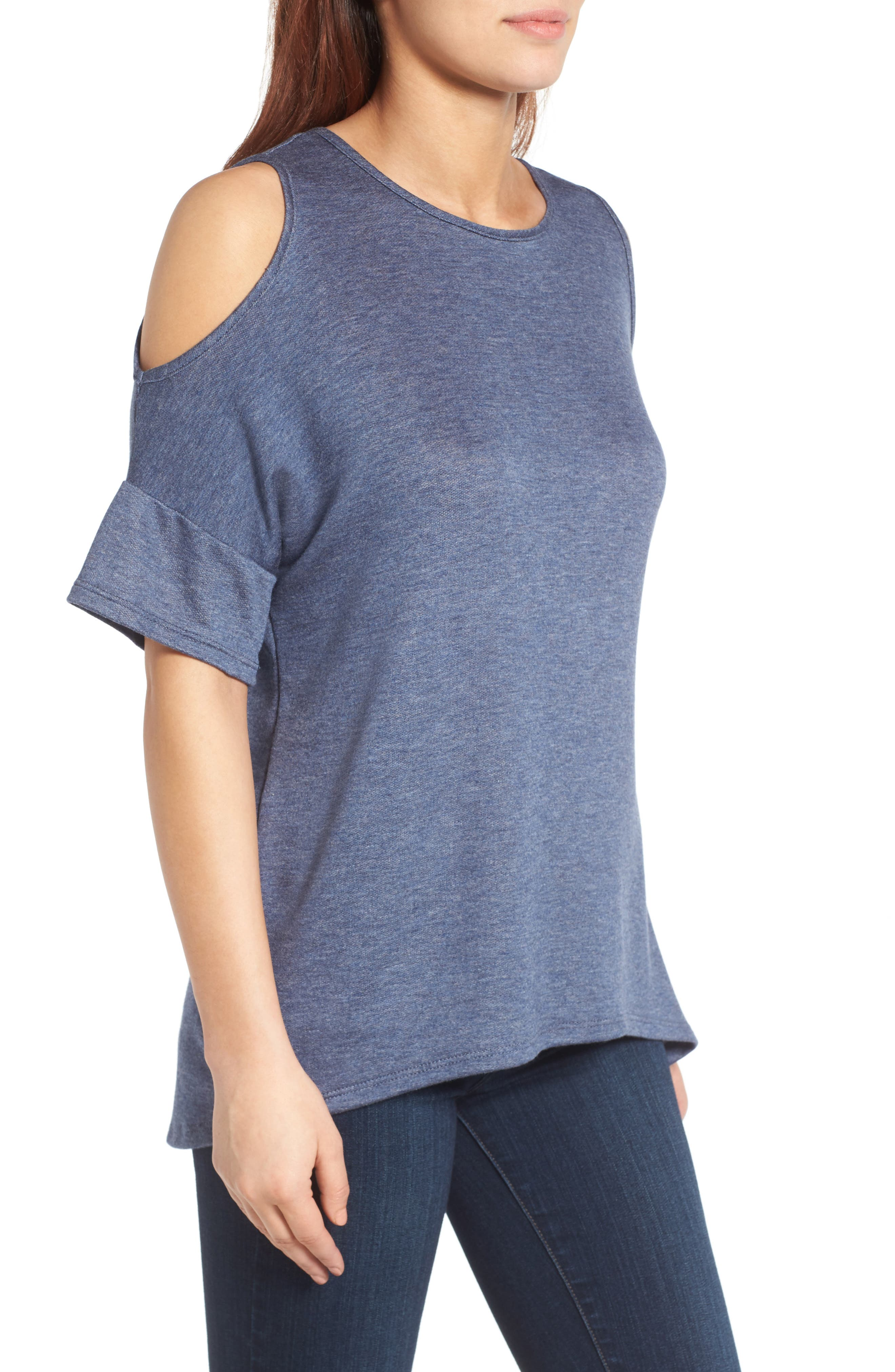 Alternate Image 3  - Bobeau High/Low Cold Shoulder Sweatshirt