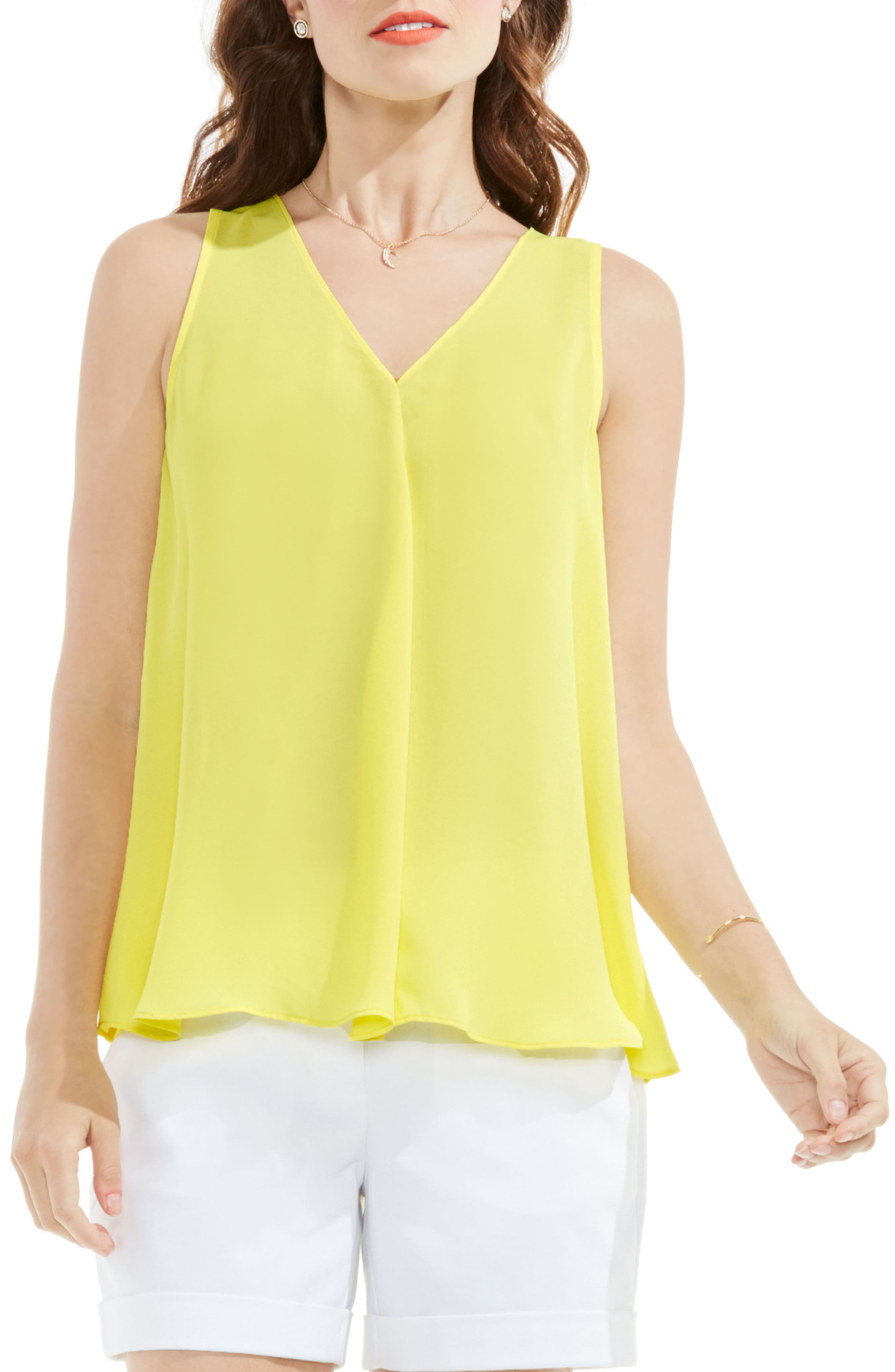 Alternate Image 1 Selected - Vince Camuto Pleat Front A-Line Blouse (Regular & Petite)
