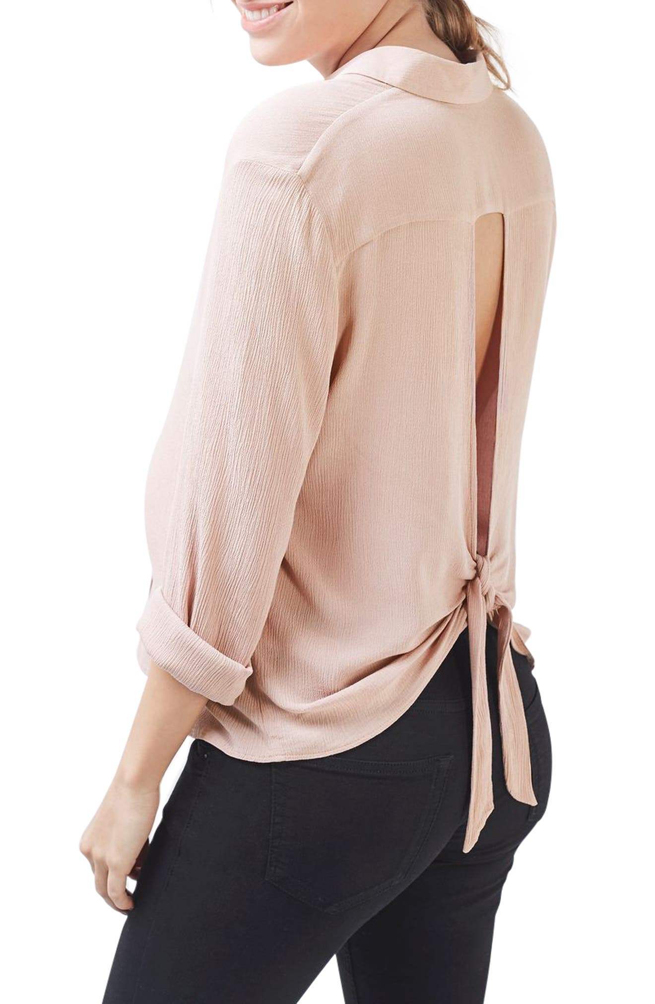 Alternate Image 3  - Topshop Tie Back Maternity Shirt